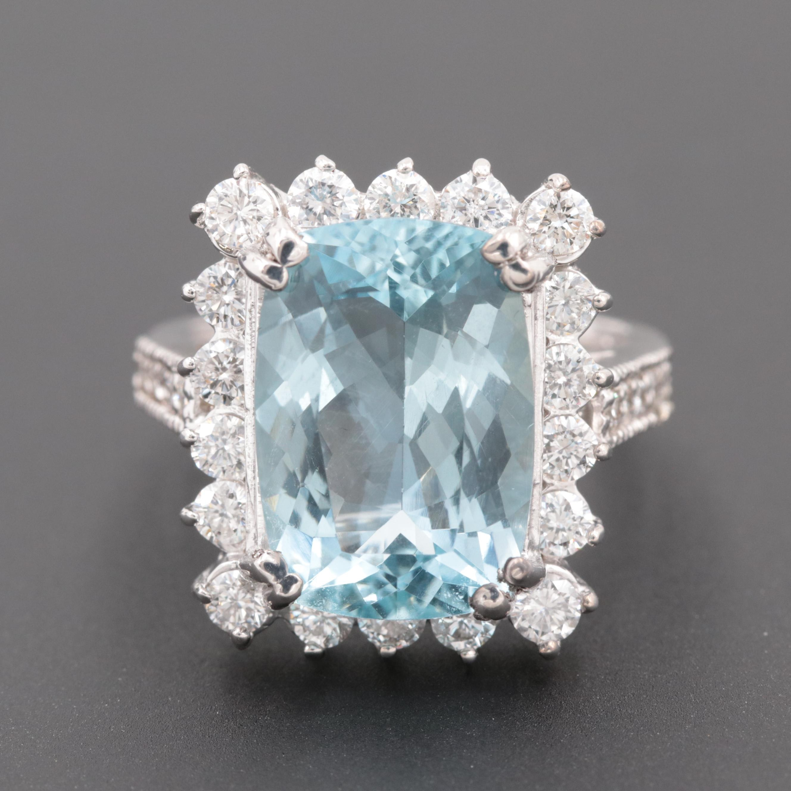 18K White Gold 6.65 CT Aquamarine and 1.28 CTW Diamond Ring
