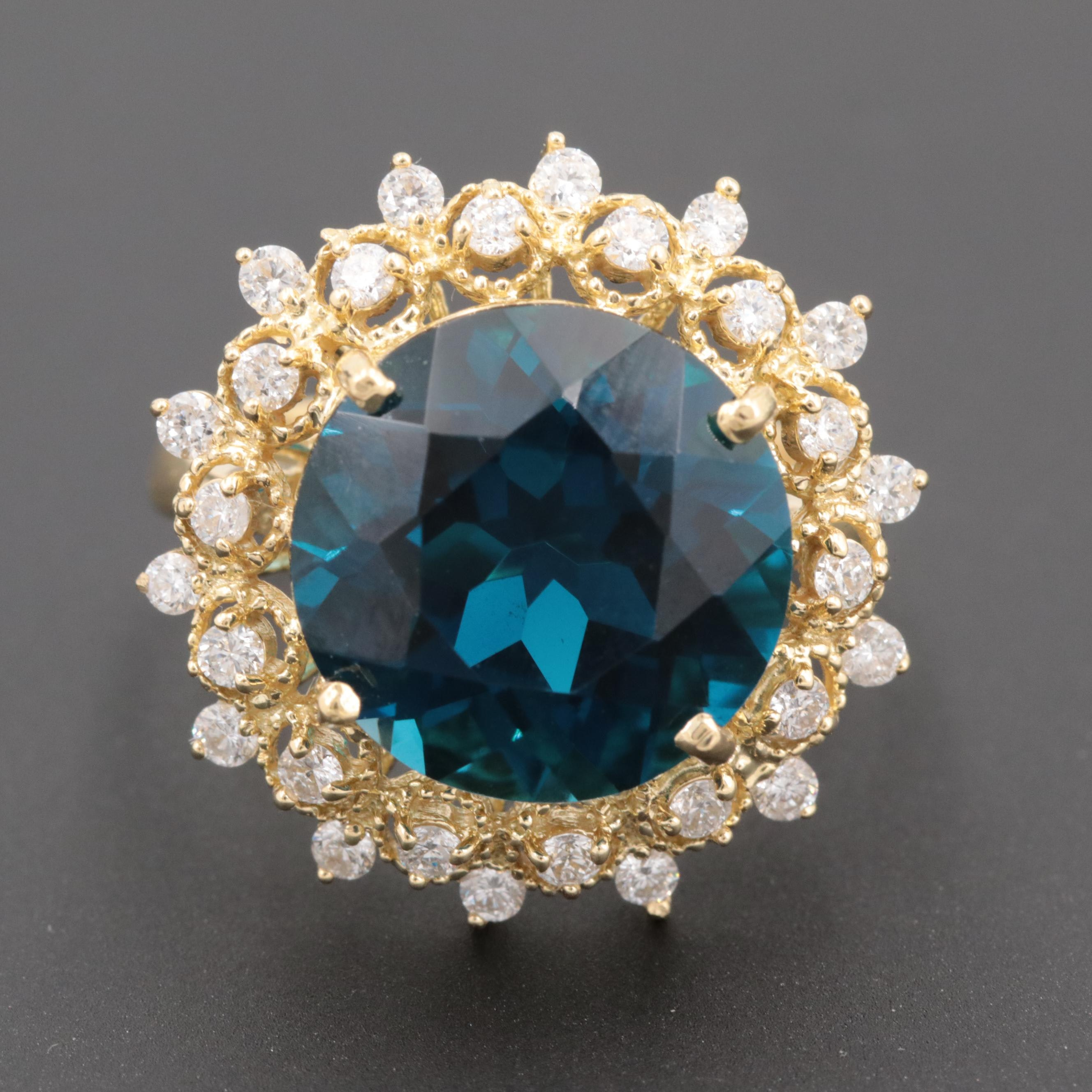 18K Yellow Gold 9.80 CT Topaz and Diamond Ring