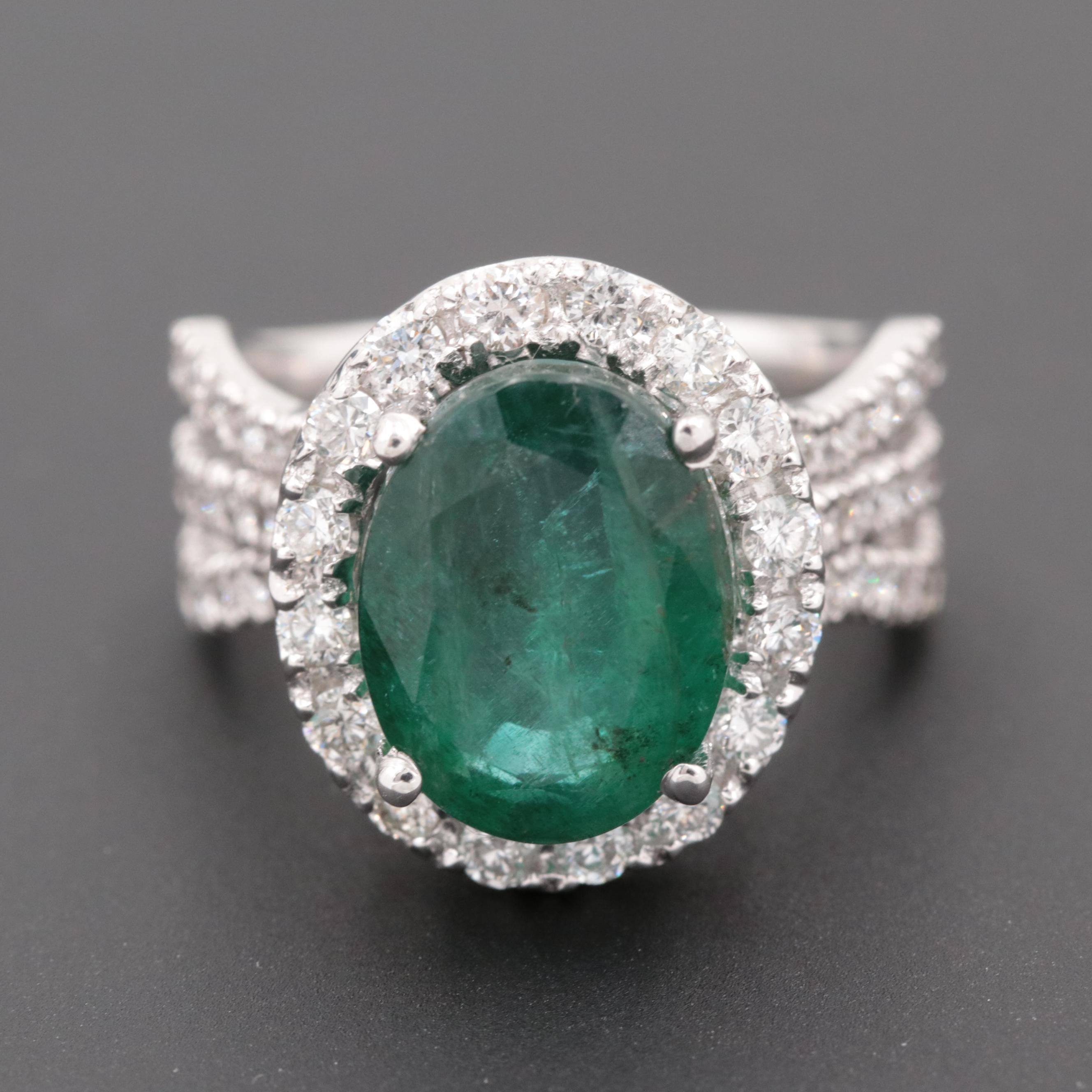14K White Gold 4.20 CT Emerald and 1.08 CTW Diamond Ring