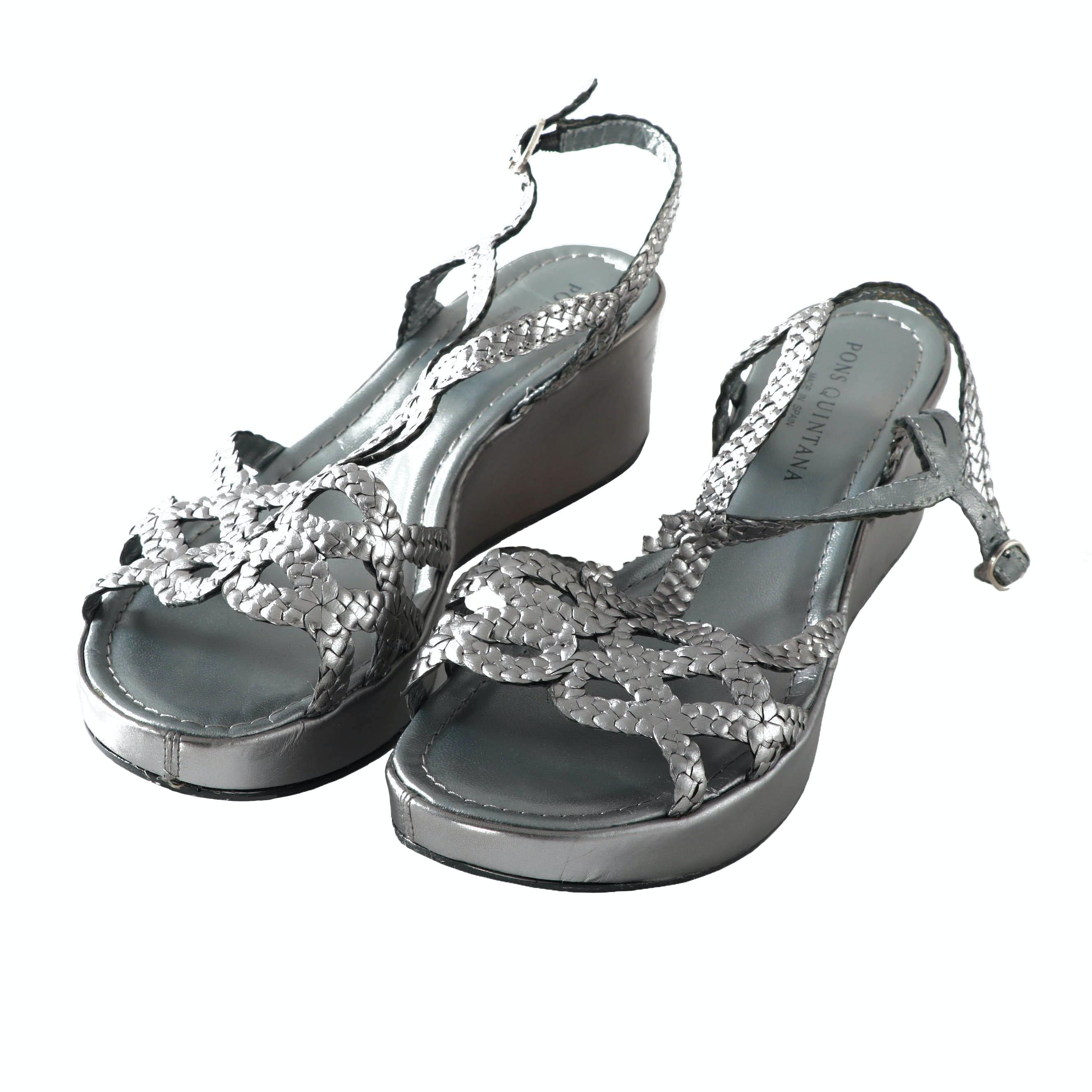 Pons Quintana Metallic Leather Wedge Sandals