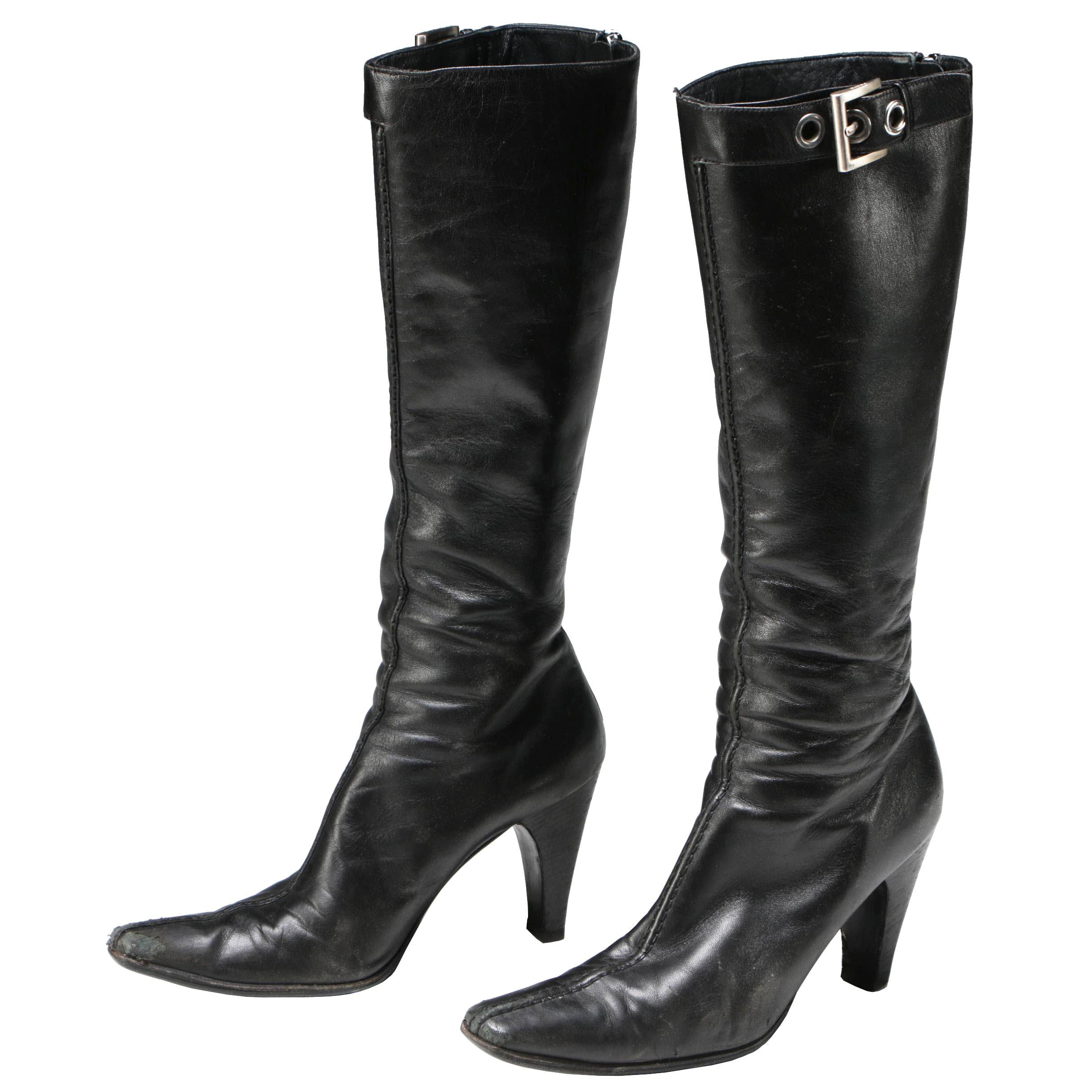Prada Black Leather Tall Boots