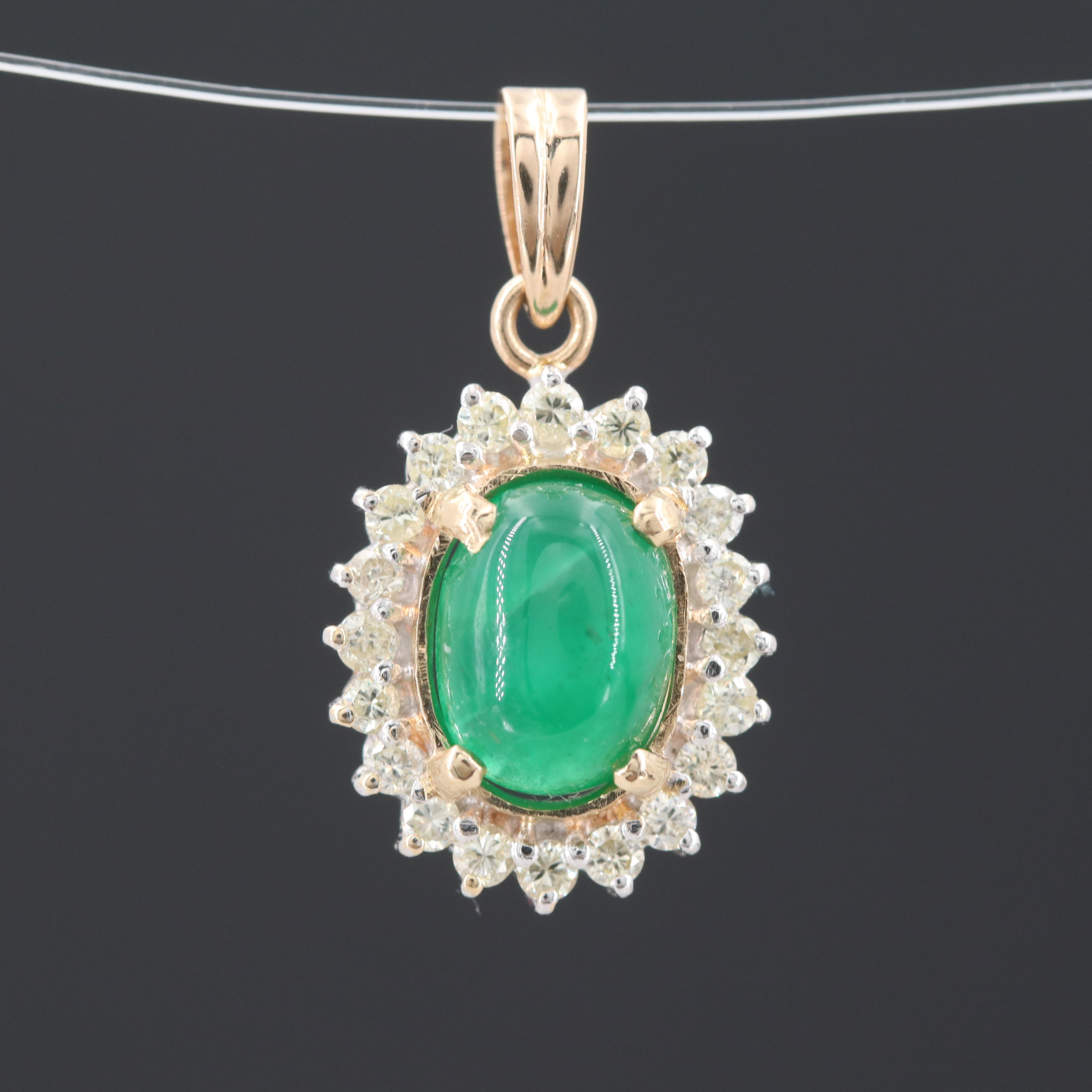 14K Yellow and White Gold Emerald and Diamond Pendant