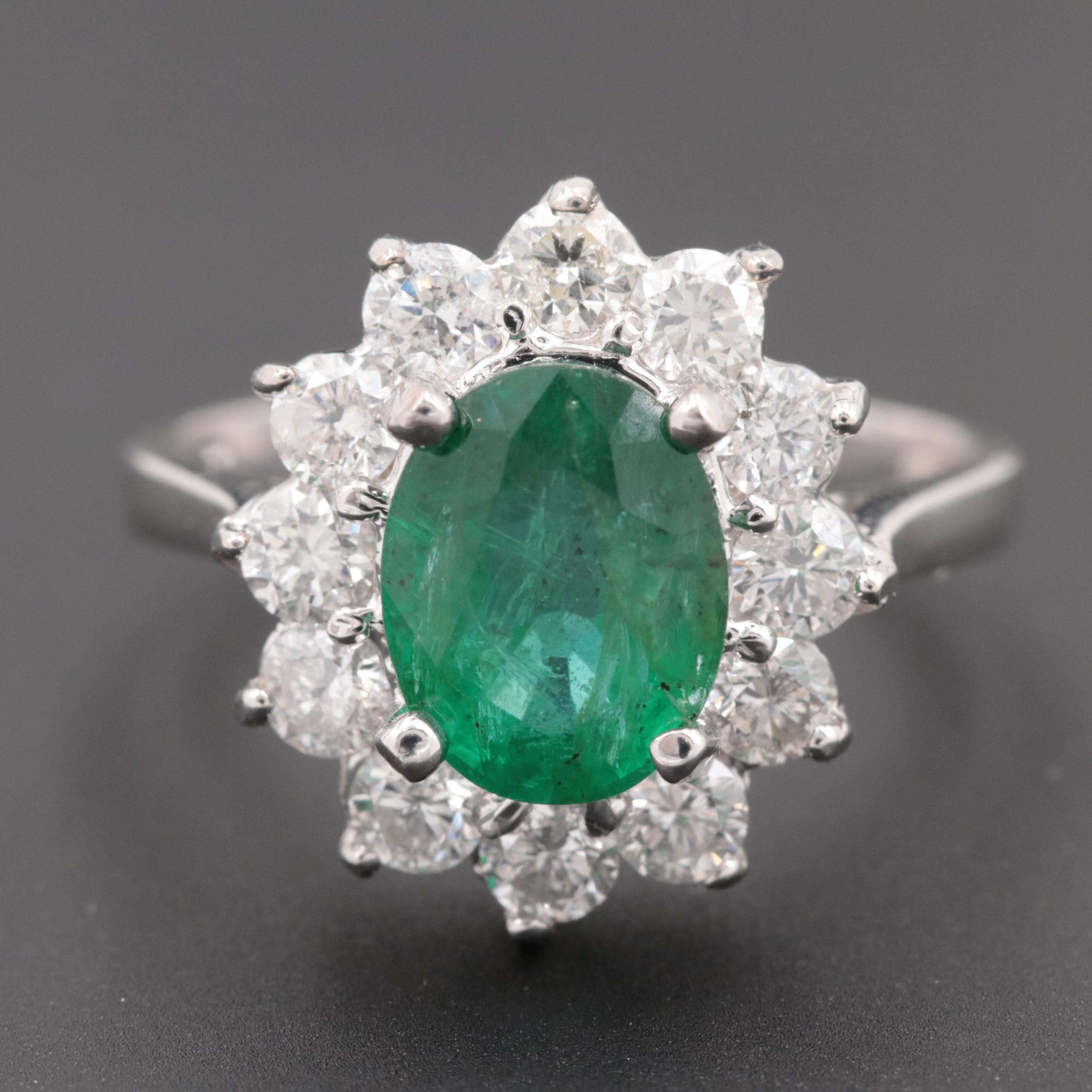 18K White Gold 1.78 CT Emerald and Diamond Ring