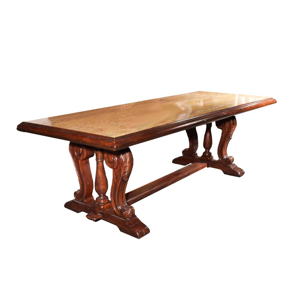 Renaissance Revival Wood and Marble Trestle Dining Table