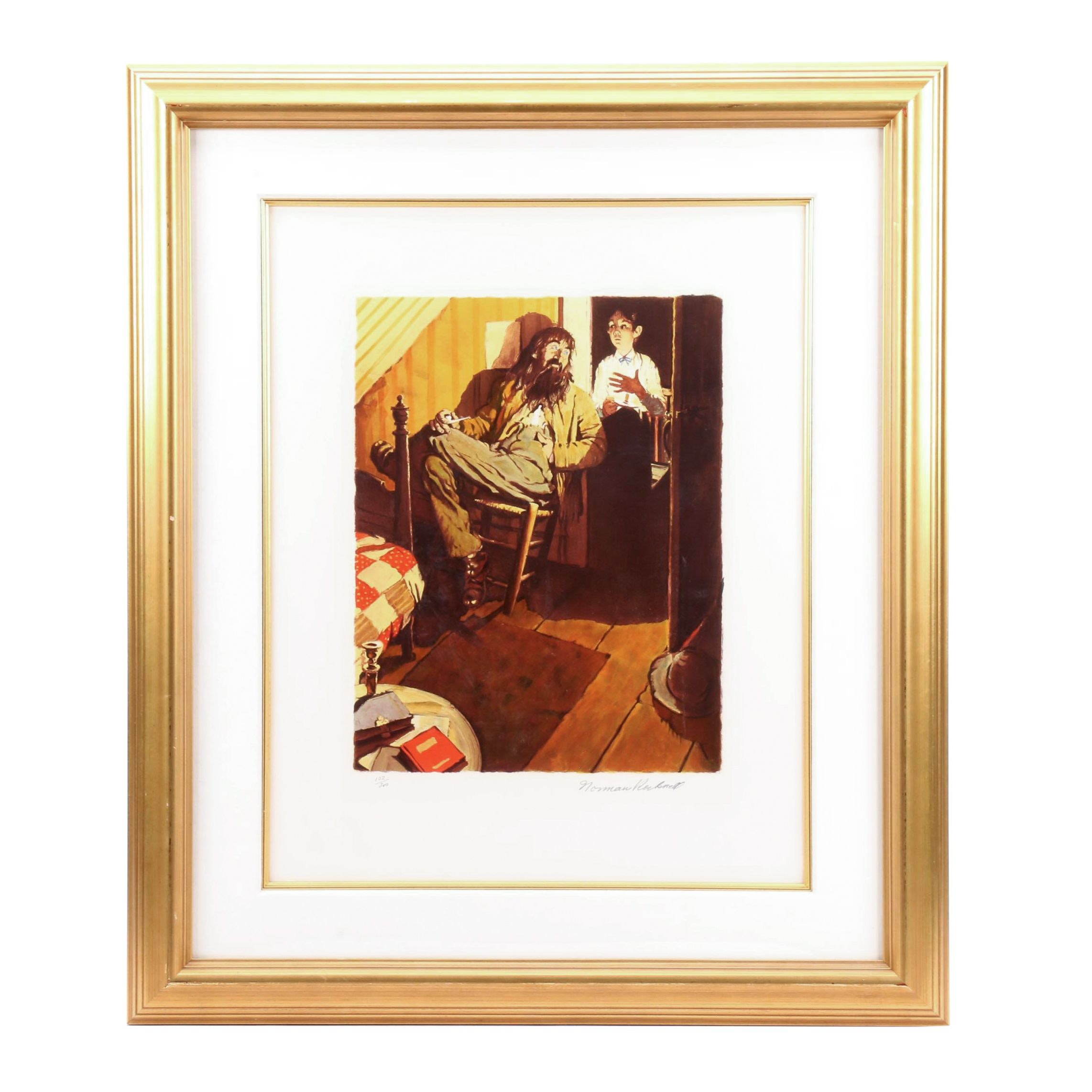 "Norman Rockwell Limited Edition Lithograph ""When I Lit My Candle"""