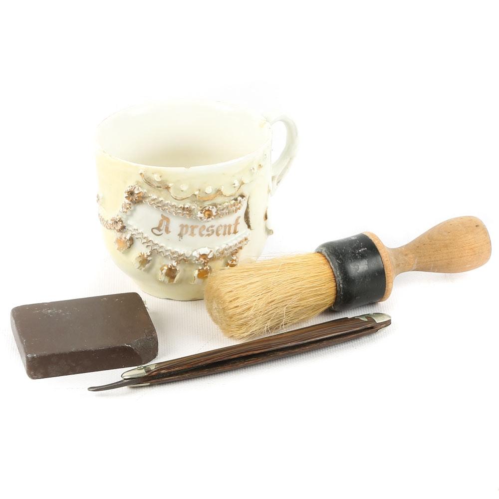 "Shaving Mug with Wester Bros. ""Blue Steel"" Straight Razor, Early 20th Century"