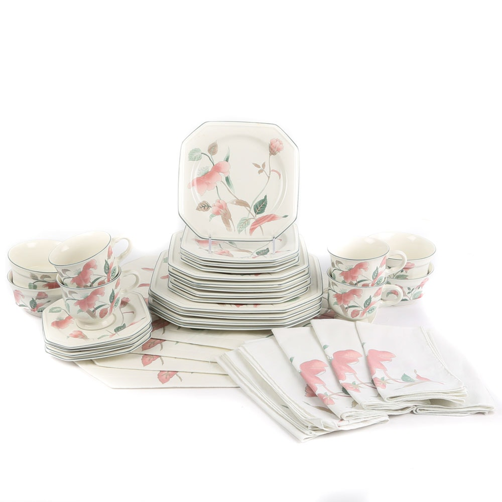 "Mikasa ""Silk Flowers"" Dinnerware Set with Napkins and Placemats"