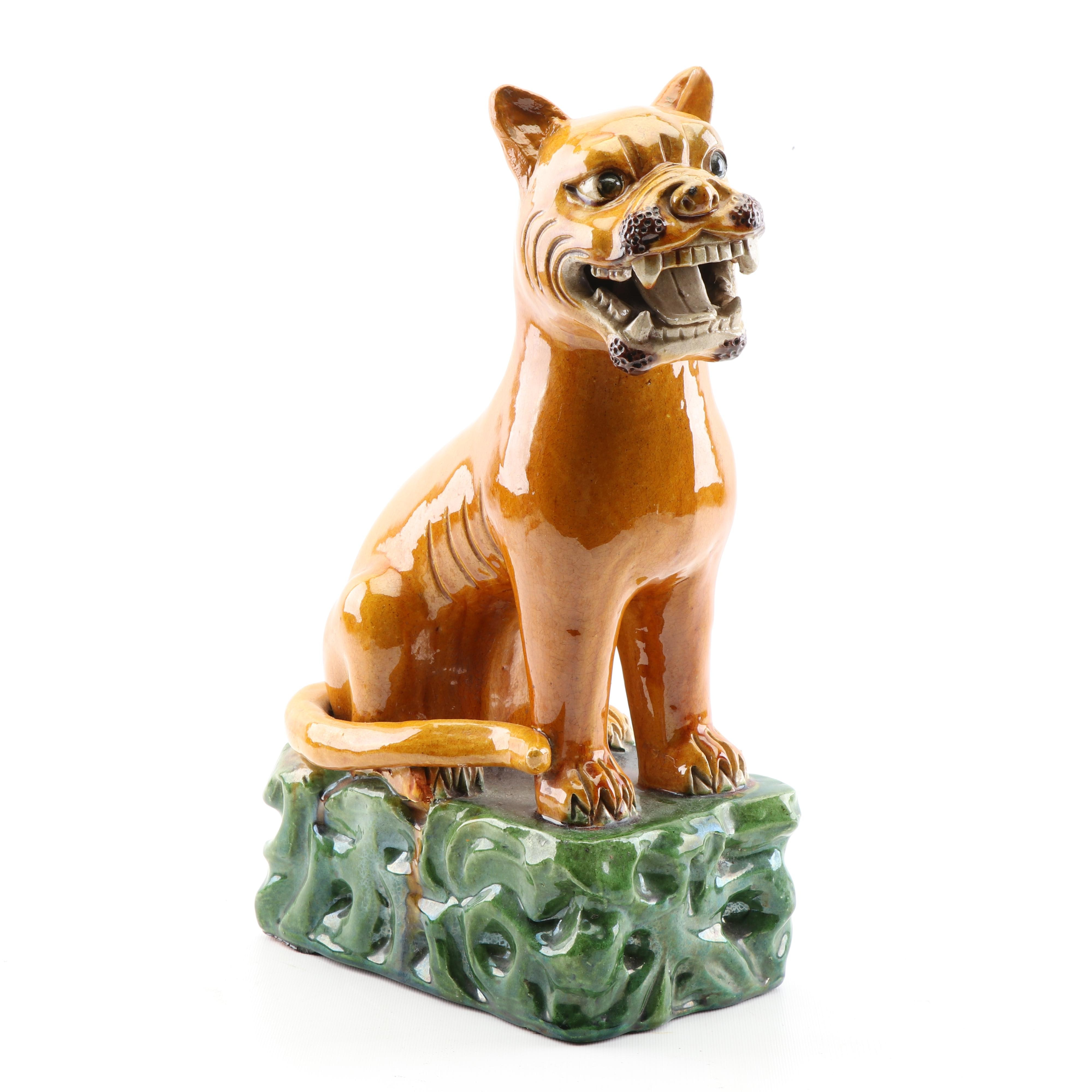 Chinese Majolica Guardian Lion Statuette