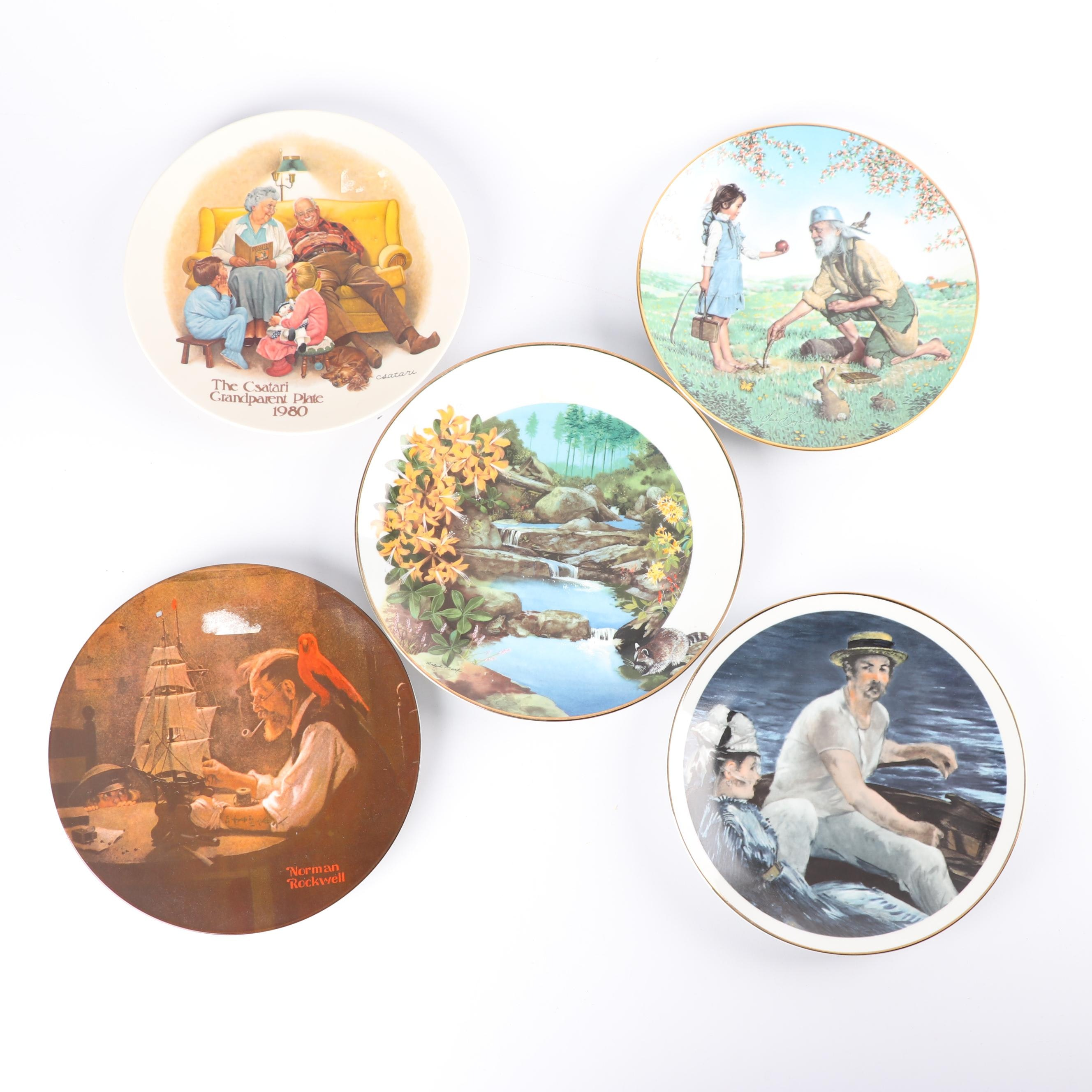 """Porcelain Collector Plates including Norman Rockwell """"Ship Builder"""" by Knowles"""