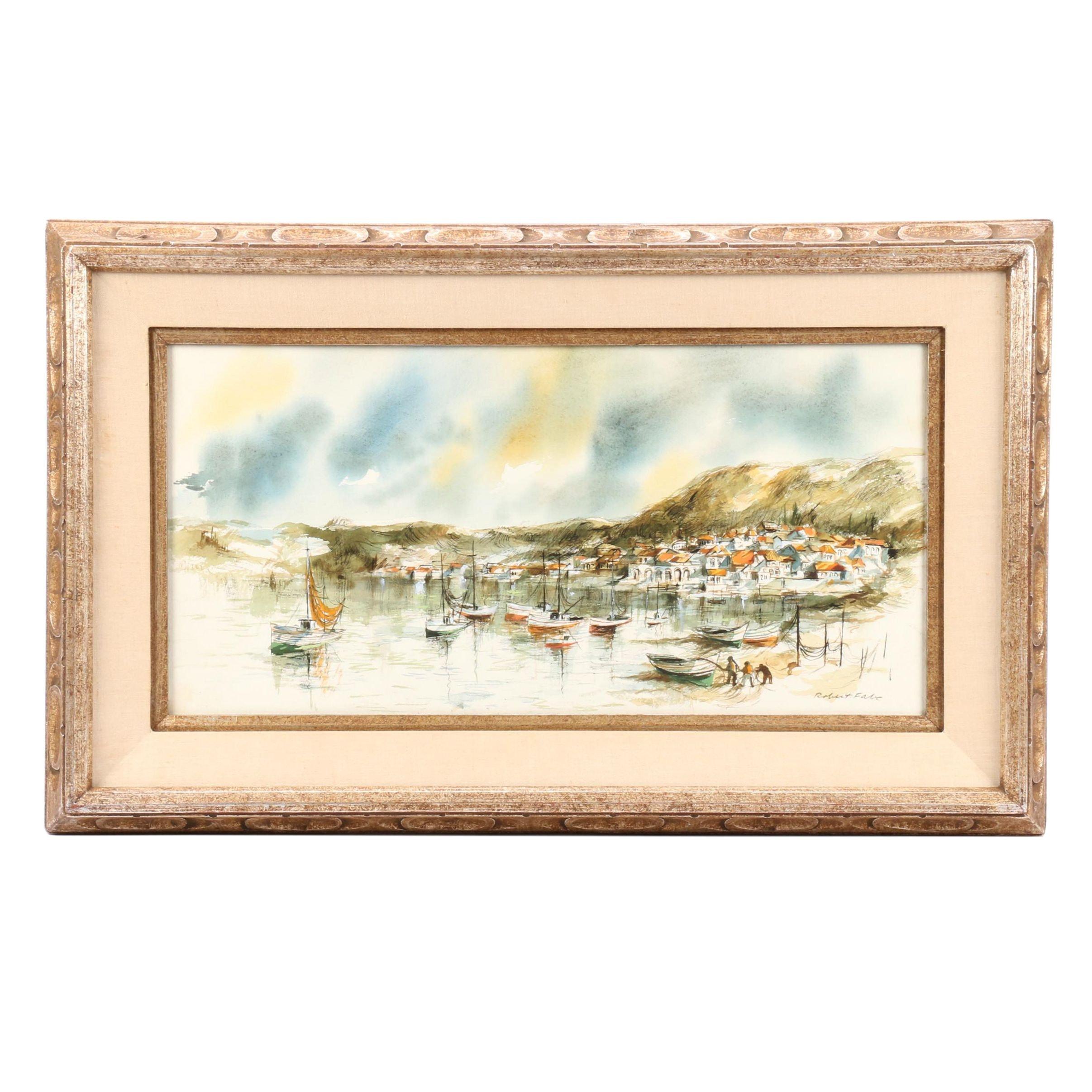 Robert Fabe Watercolor Painting of Harbor Scene
