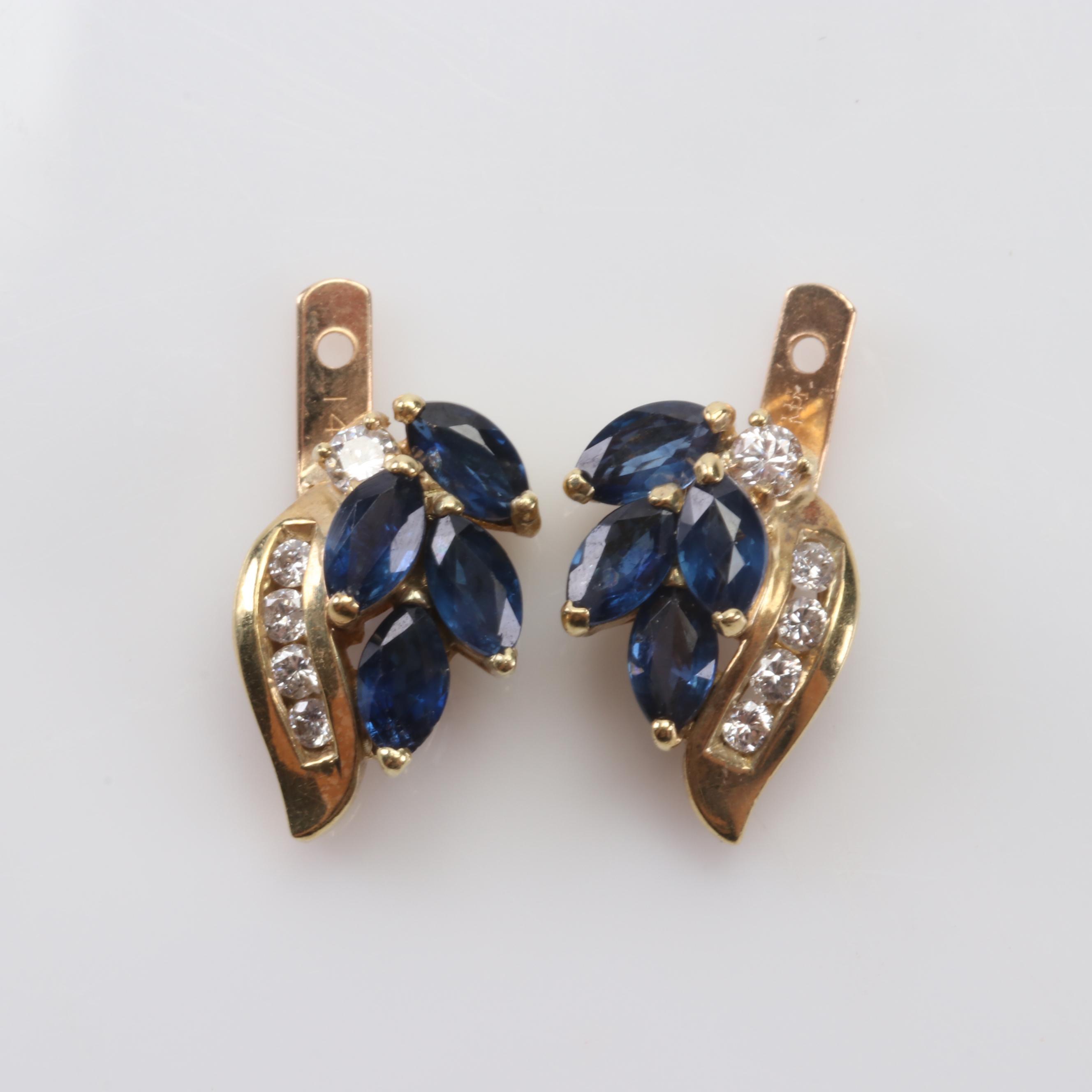 14K Yellow Gold Sapphire And Diamond Earring Jacket