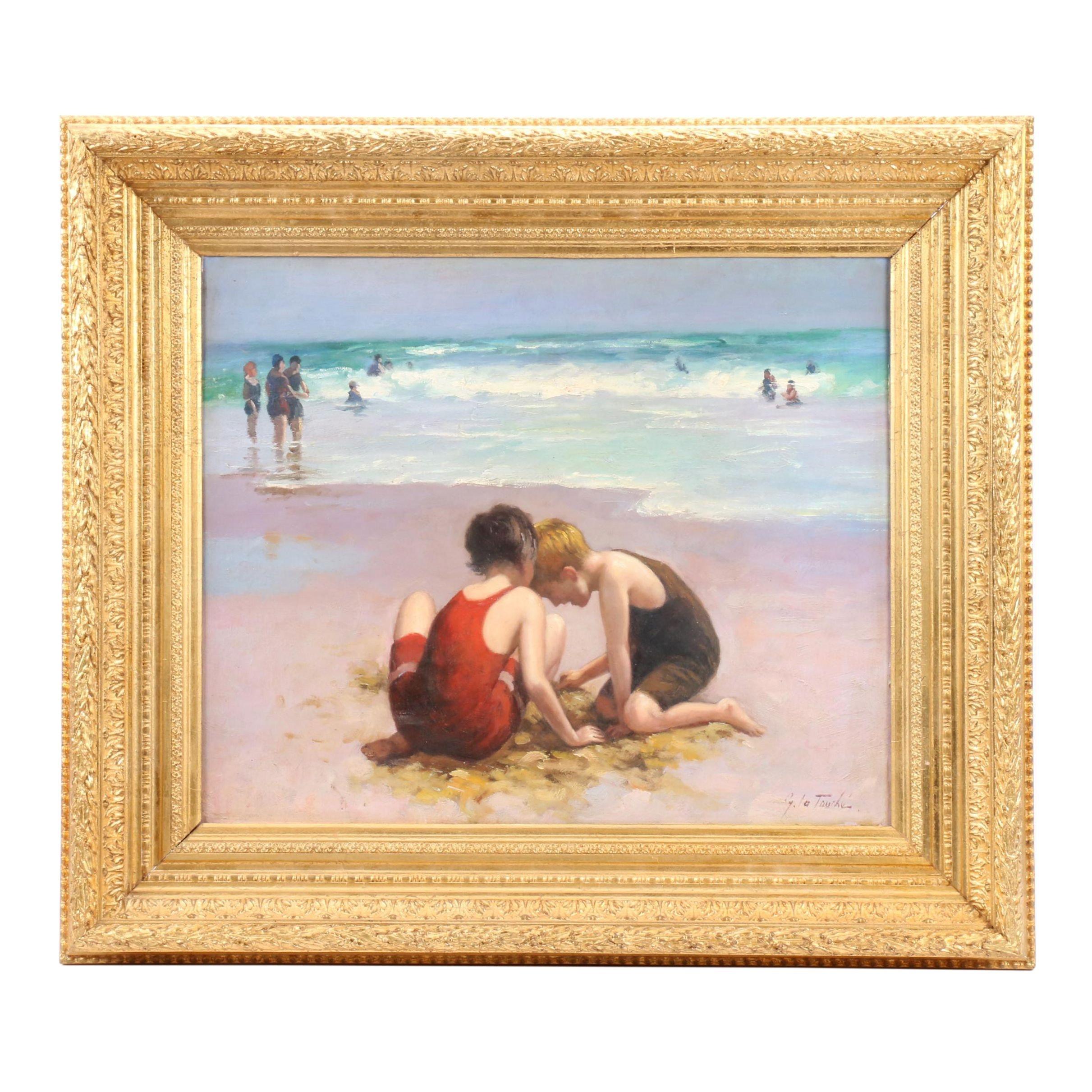 G. La Touche Oil Painting of Boys on Beach