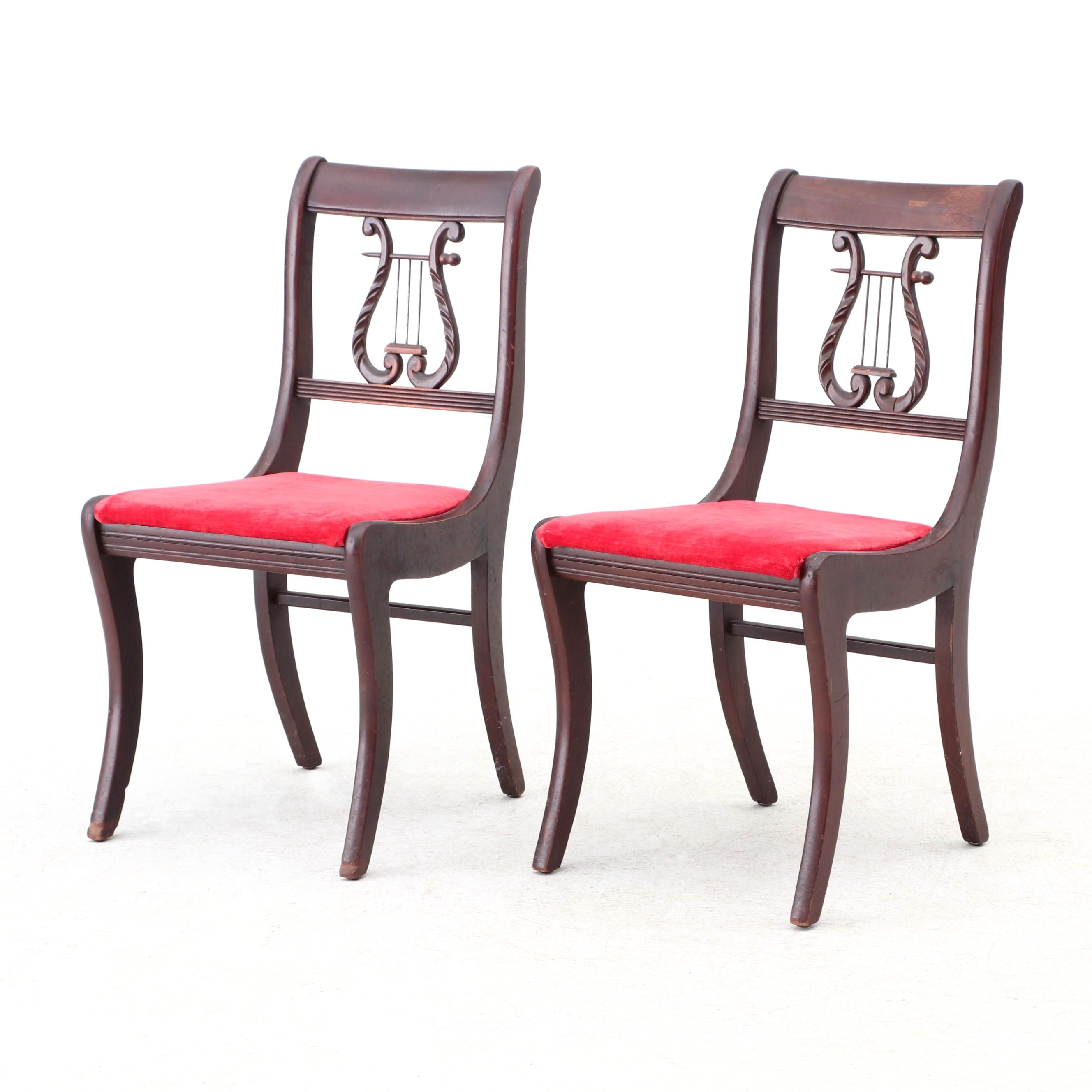 Federal Style Lyre Back Mahogany Side Chairs