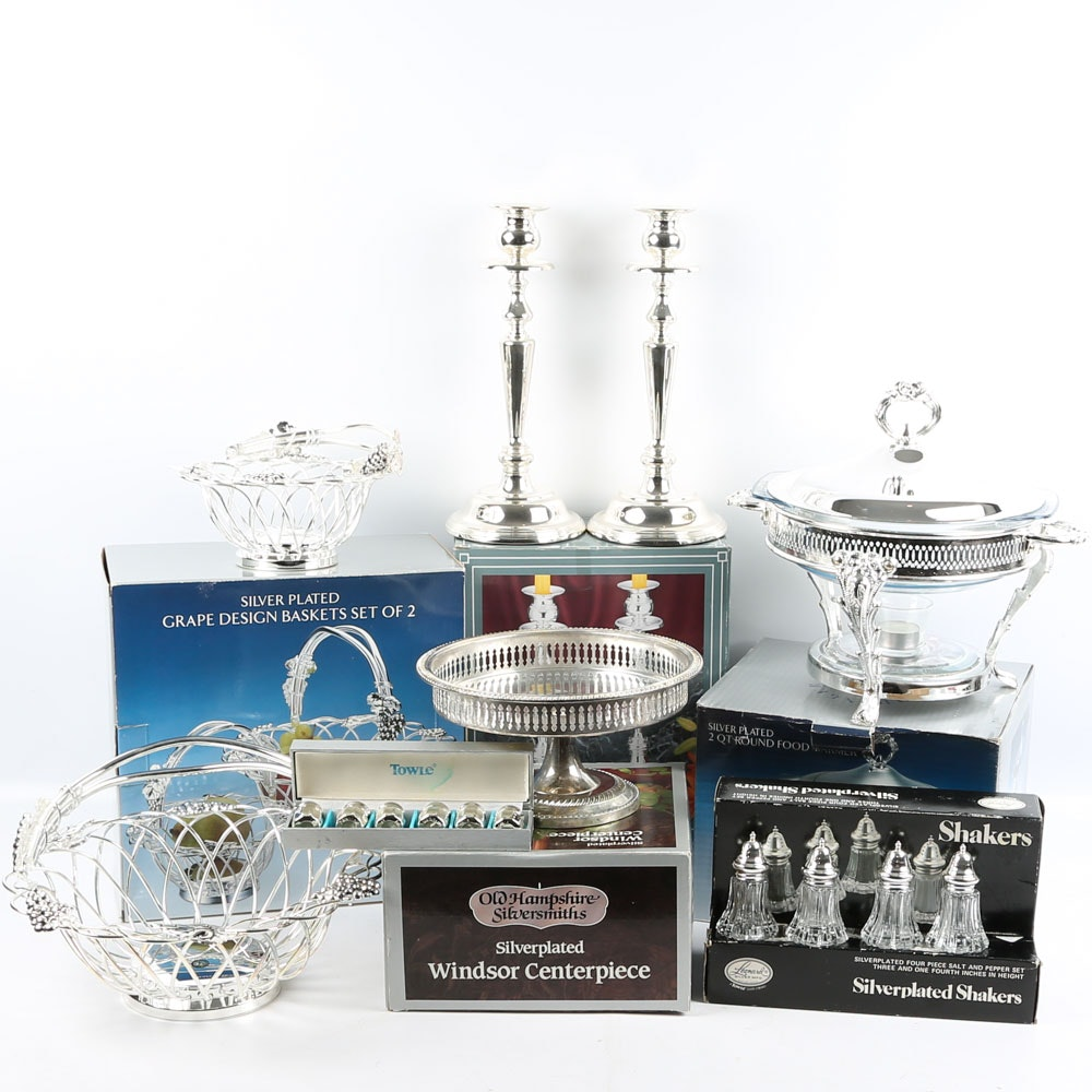 "Old Hampshire ""Windsor"" Centerpiece with Other Silver Plate Tableware"