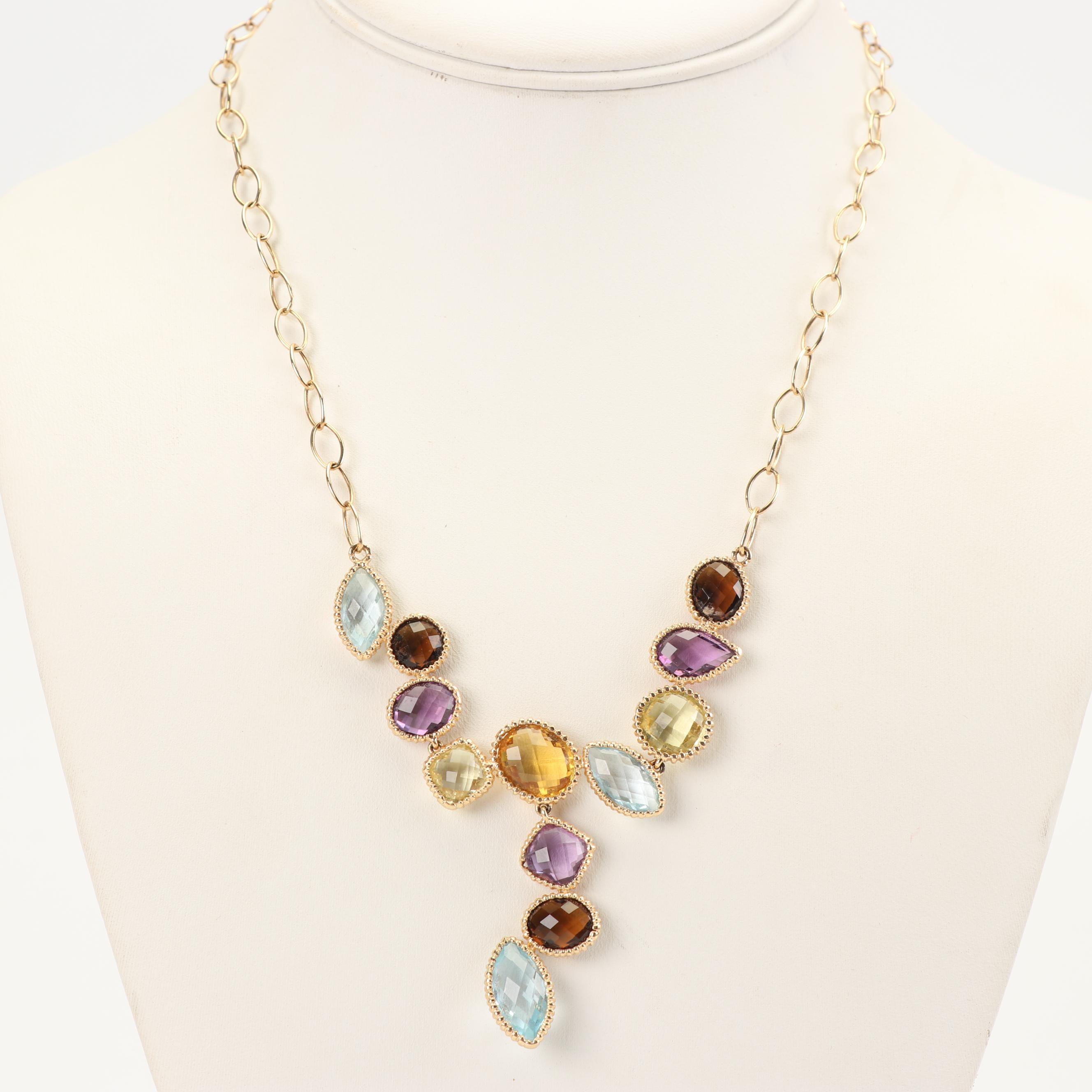 14K Yellow Gold Mixed Gemstone Statement Necklace