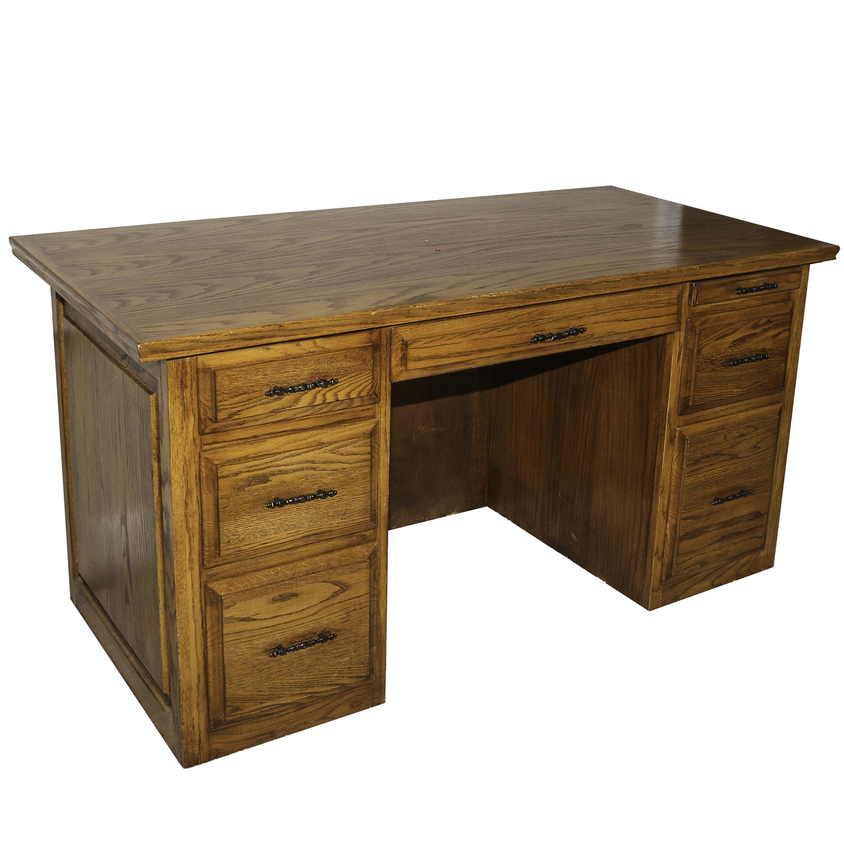 Oak Kneehole Desk, Late 20th Century