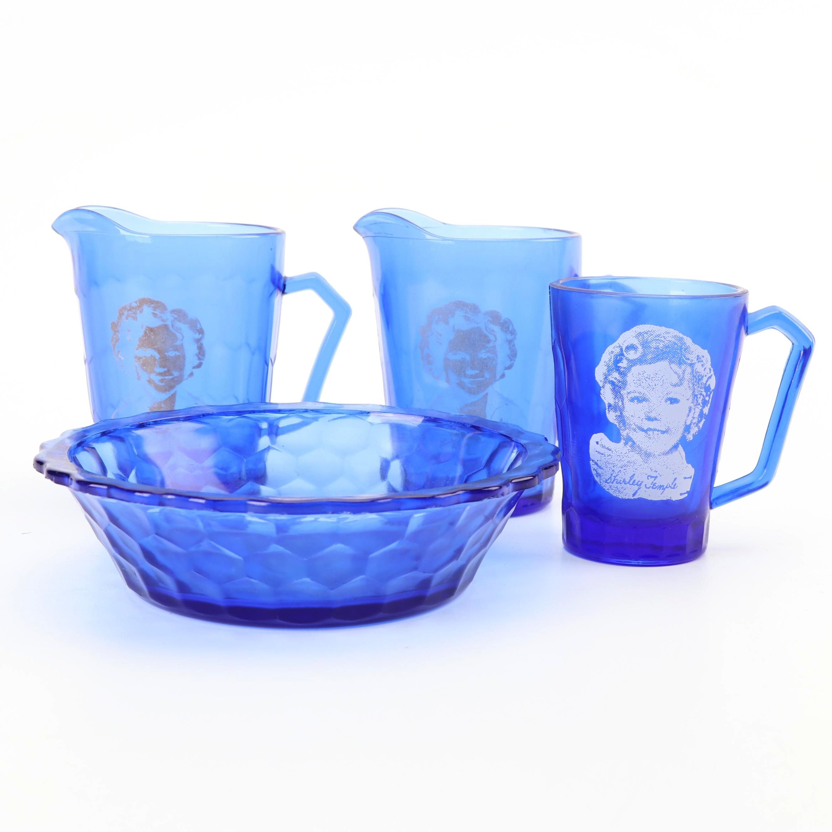Vintage Shirley Temple Themed Cobalt Glass Serveware featuring Hazel-Atlas