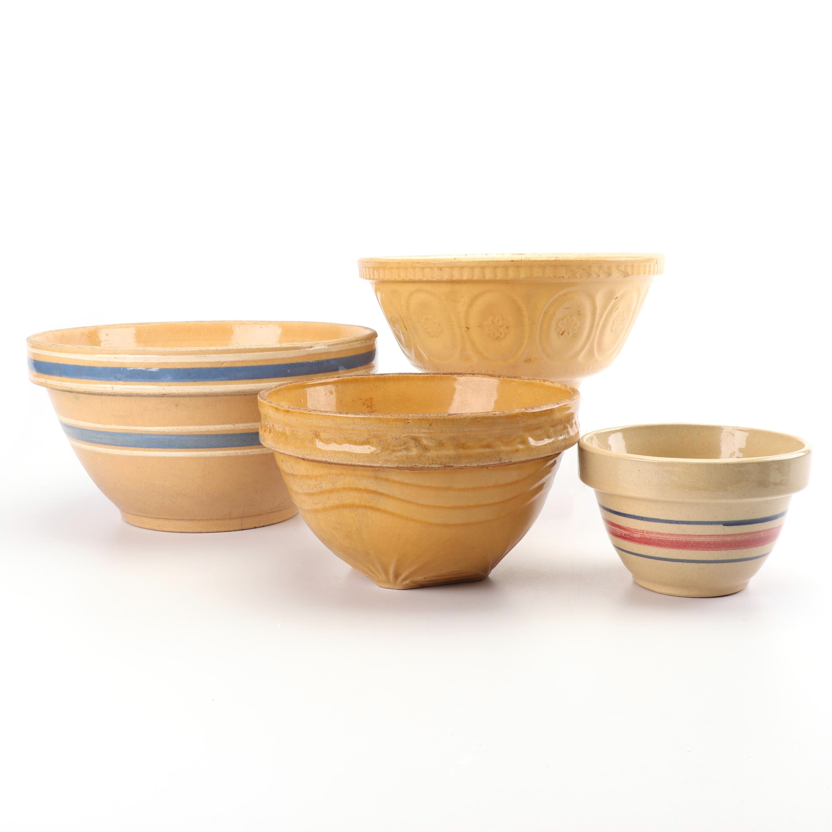 English and American Yellow Ware Mixing Bowls, Early 20th Century