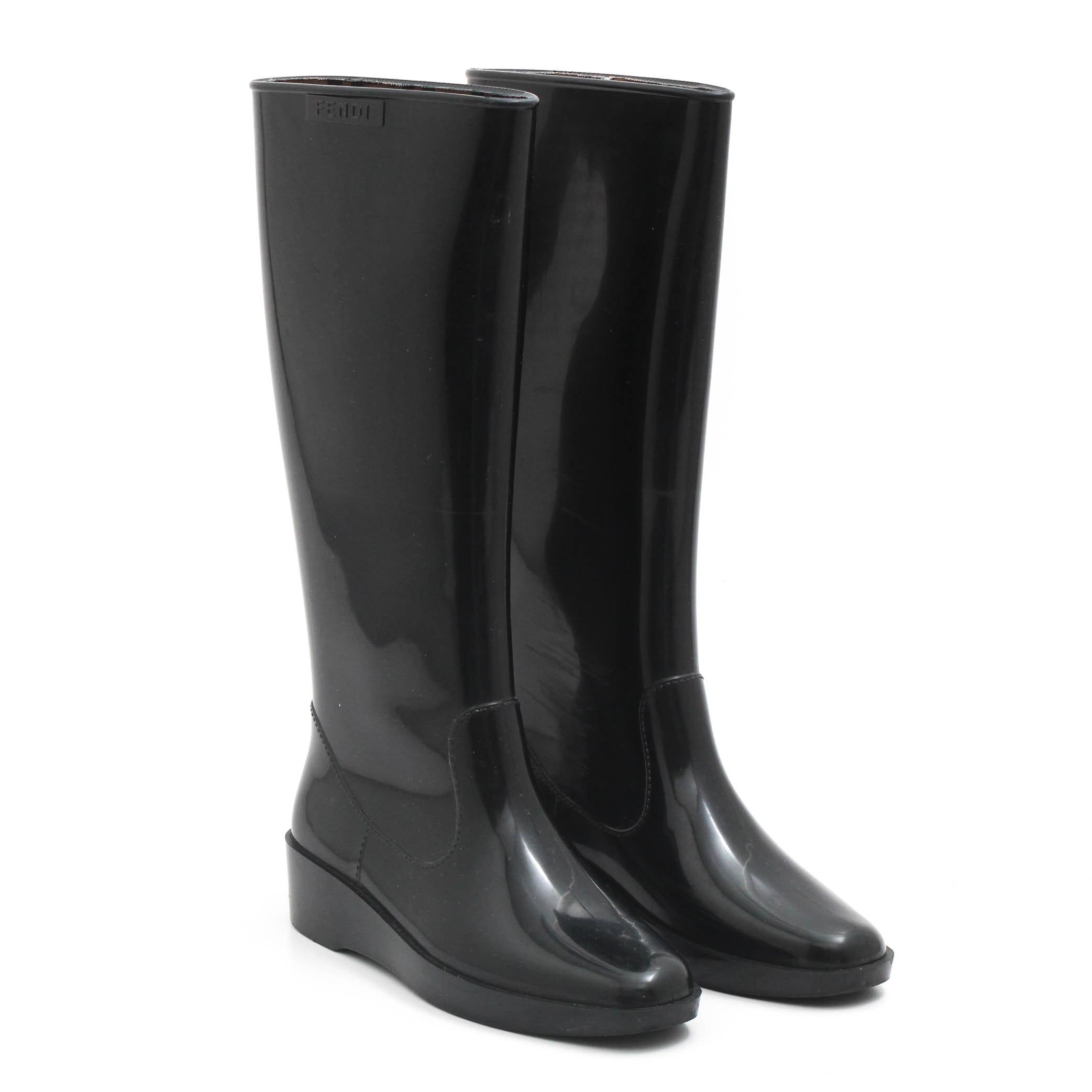 Women's Fendi Black Rubber Tall Rain Boots