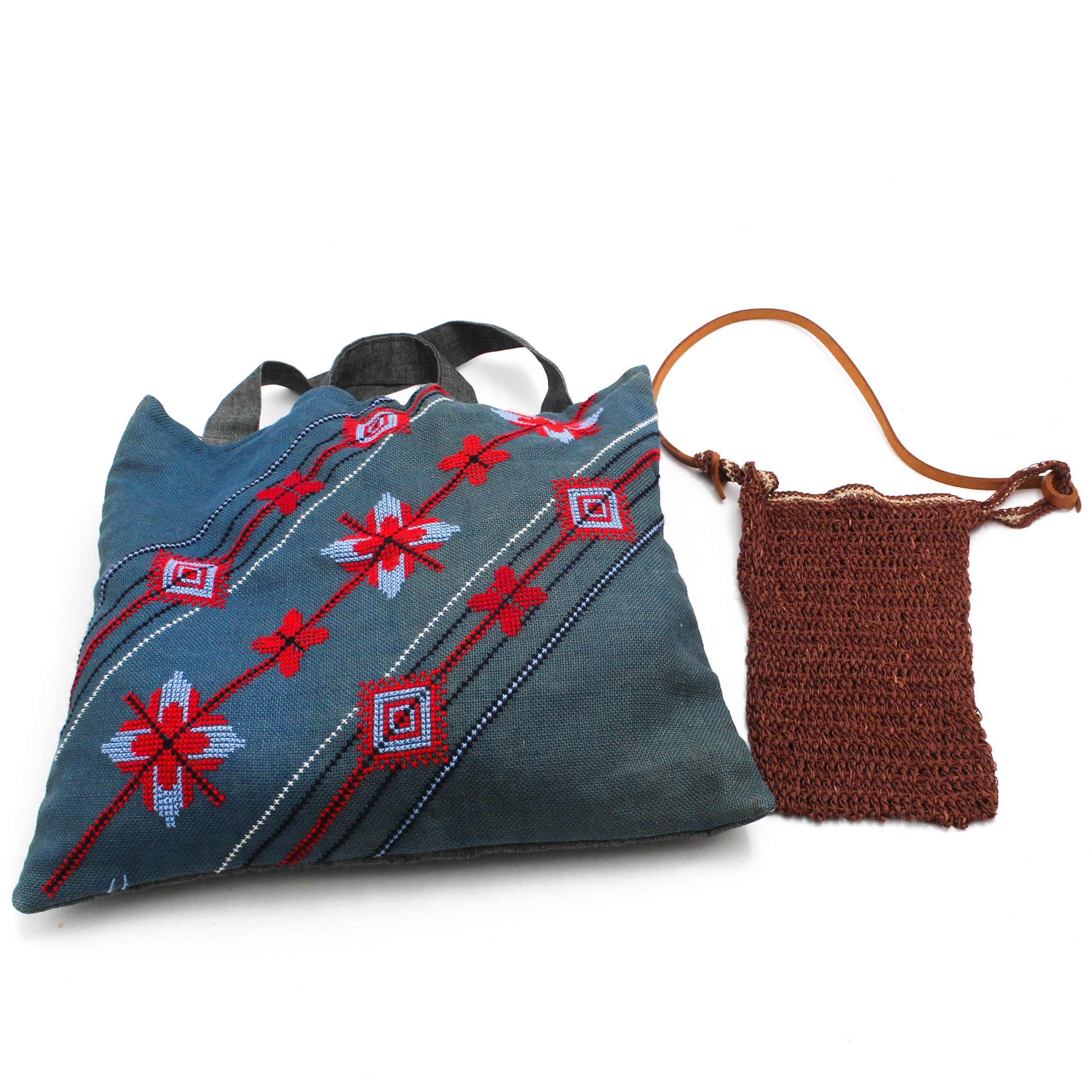 Matta Woven Bag with Leather Strap and Unlabeled Tote Bag