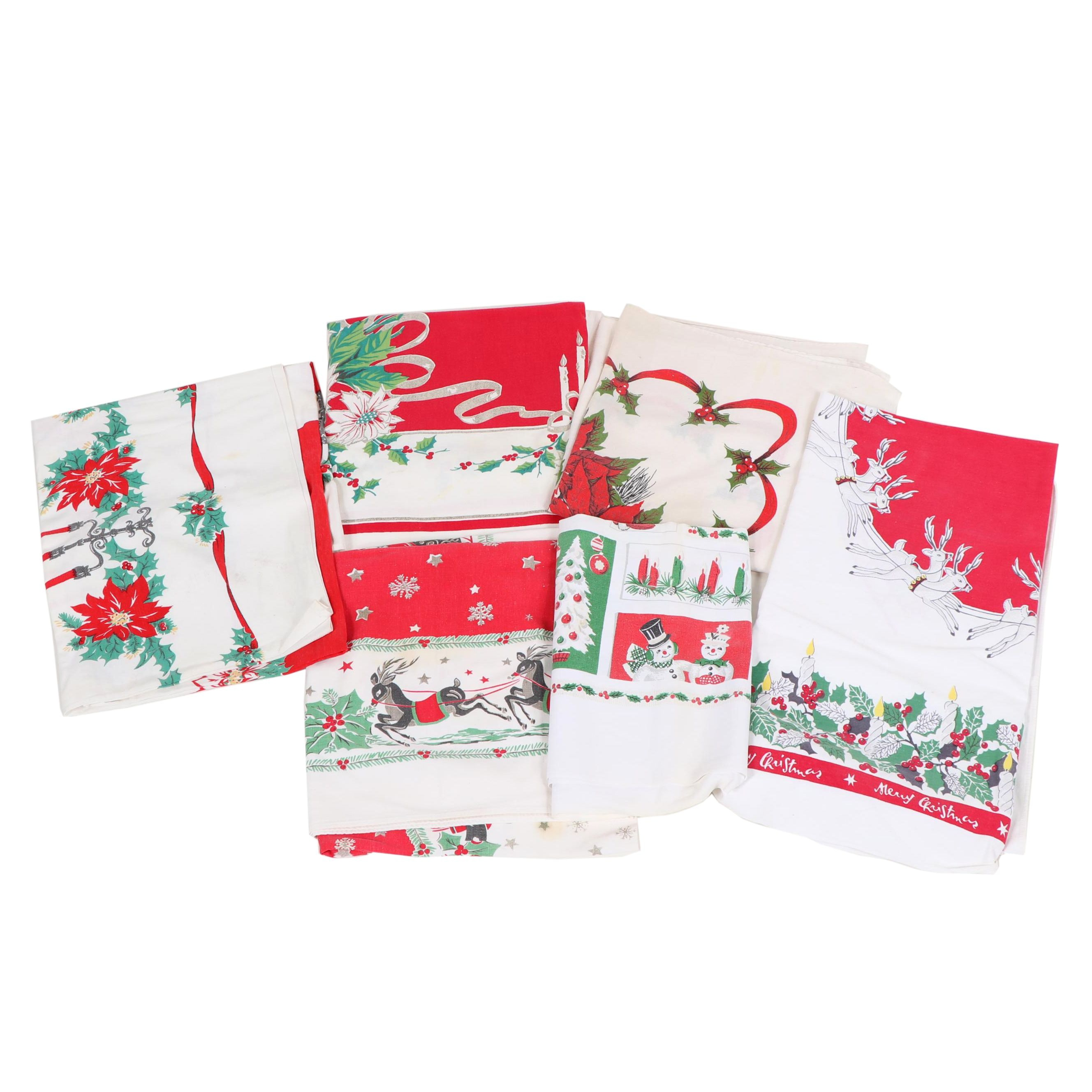 Printed Christmas Table Linens, Mid-Century