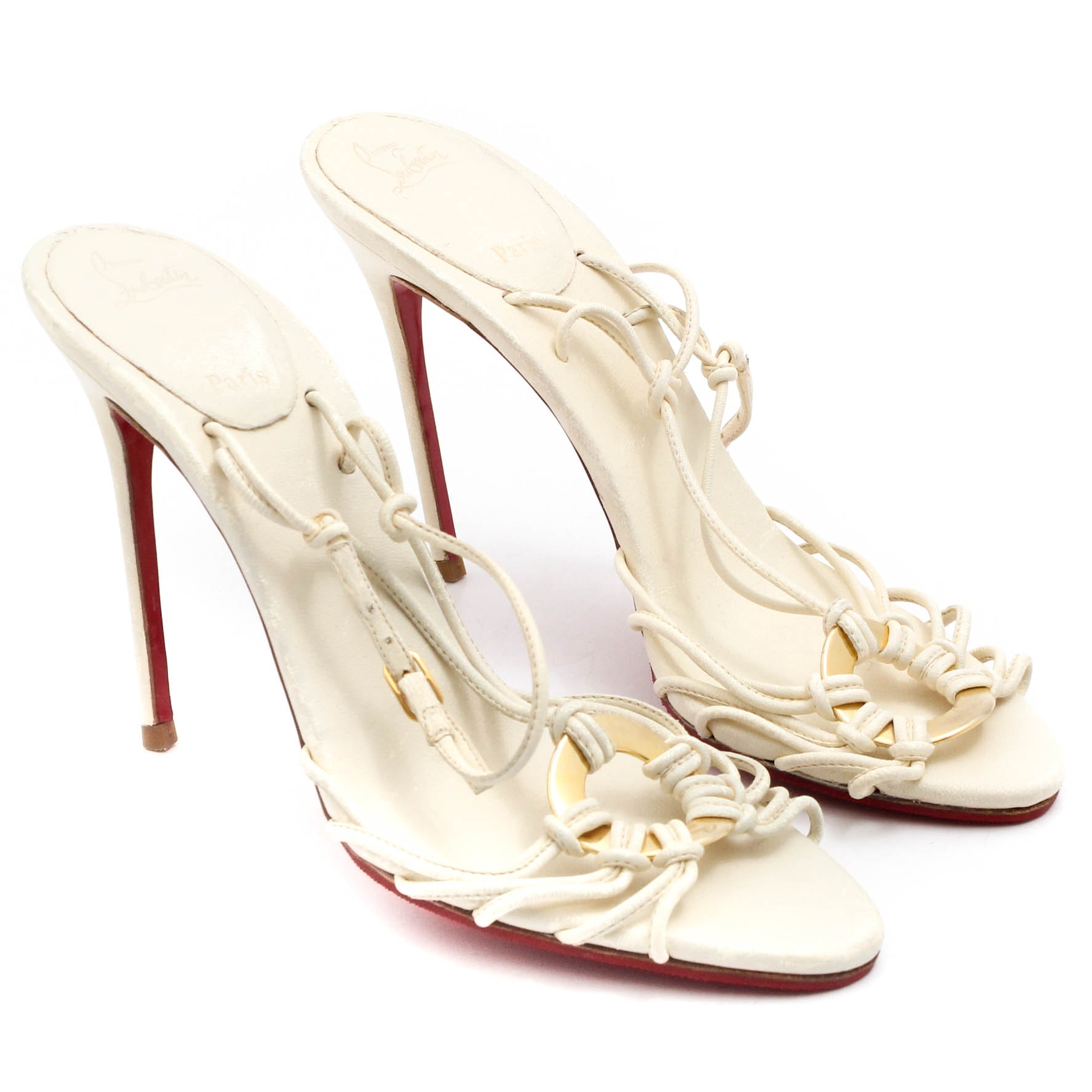 Women's Christian Louboutin Ivory Leather Strappy Heeled Sandals