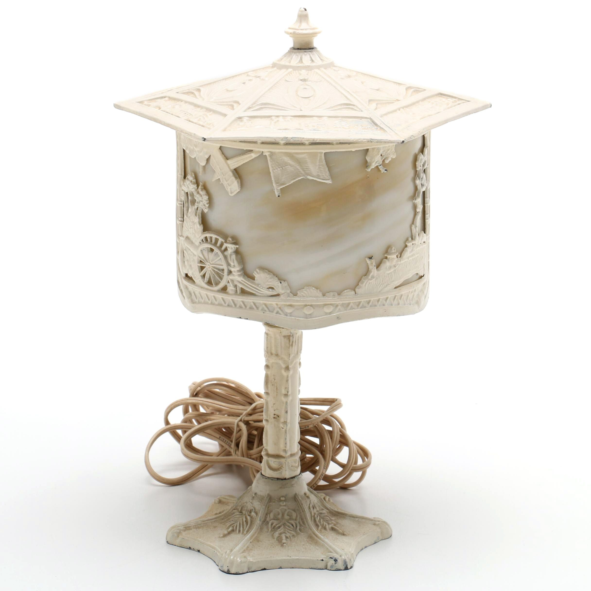 Painted Cast Metal and Slag Glass Table Lamp, Early 20th Century