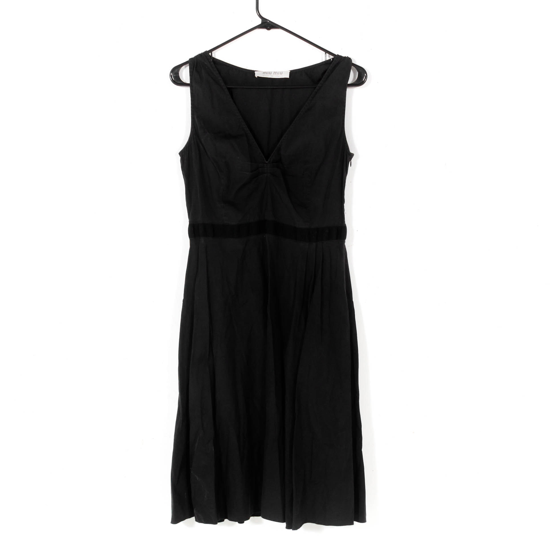 Women's Miu Miu Black Cotton Sleeveless Dress, Made in Italy