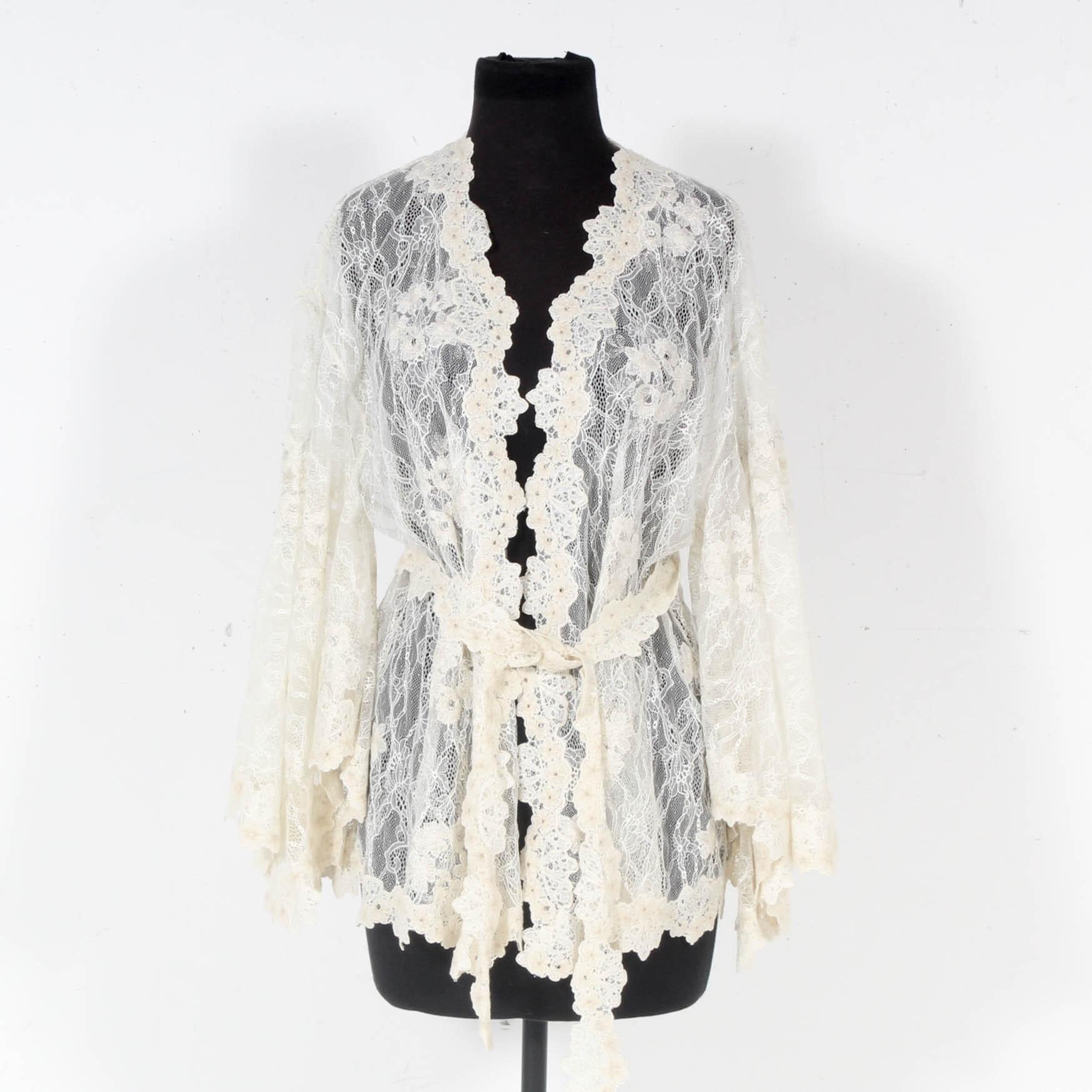 Josie Natori Ivory Lace Belted Jacket