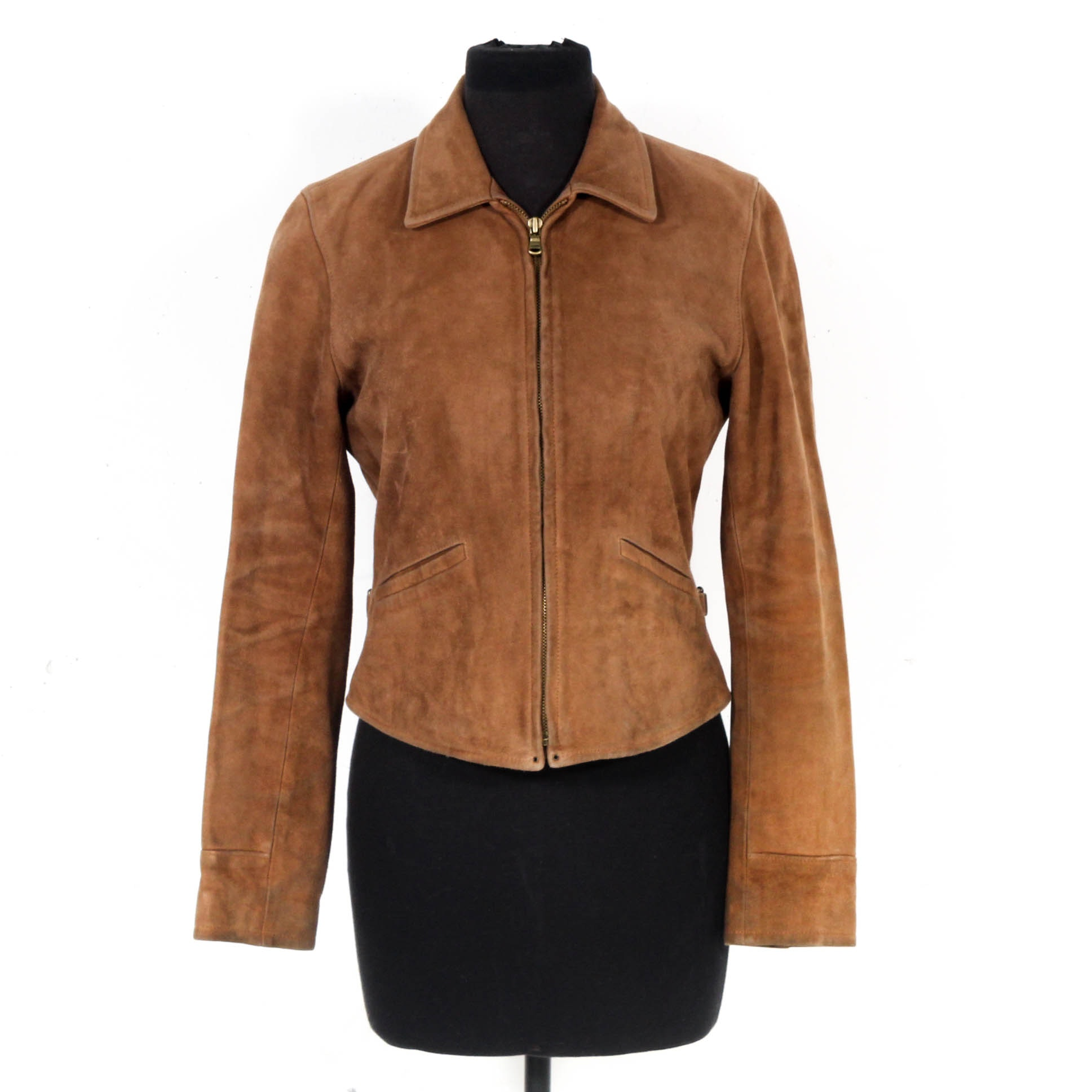 Women's Ralph Lauren Tan Suede Zipper-Front Jacket
