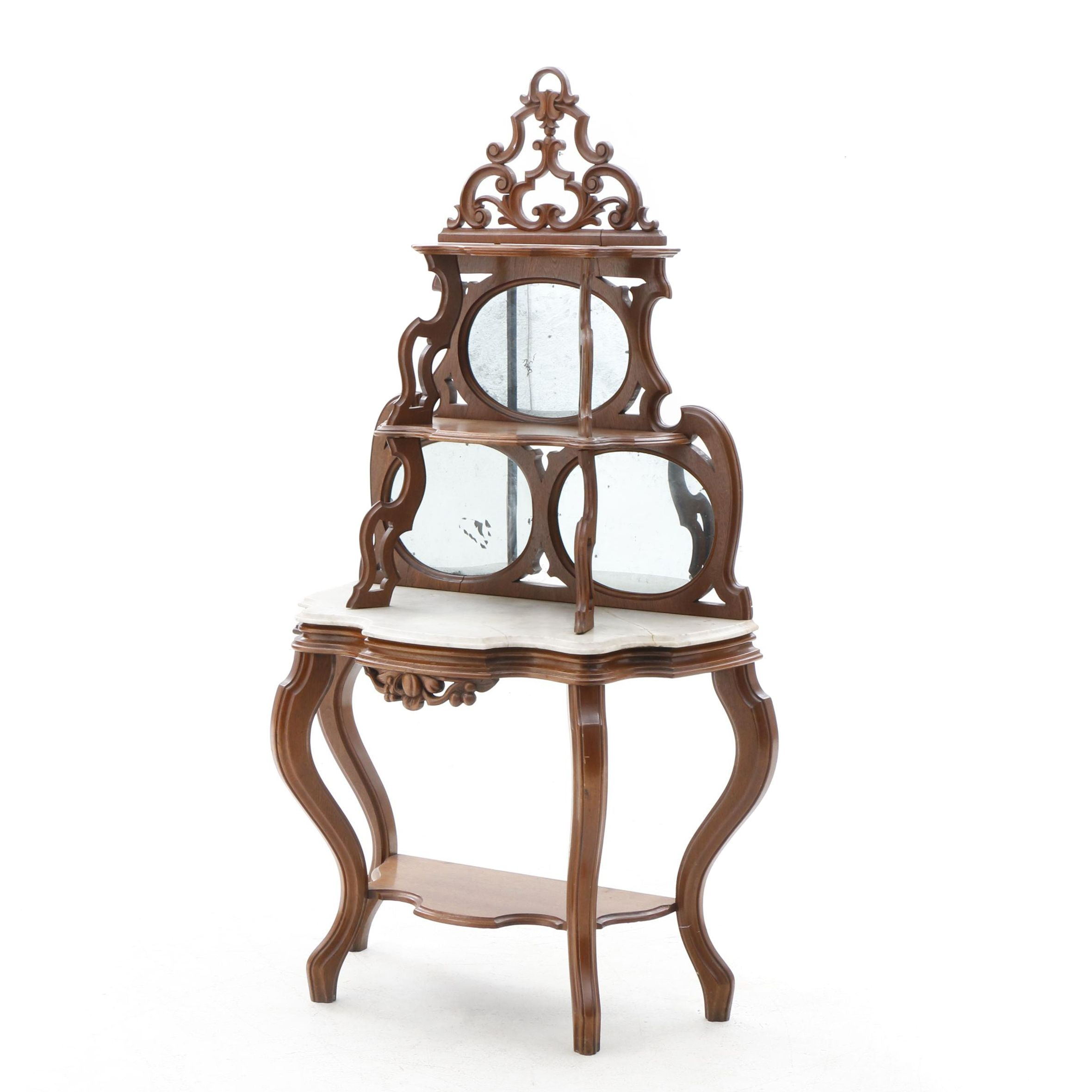 Victorian Marble Top Mirrored Etagere