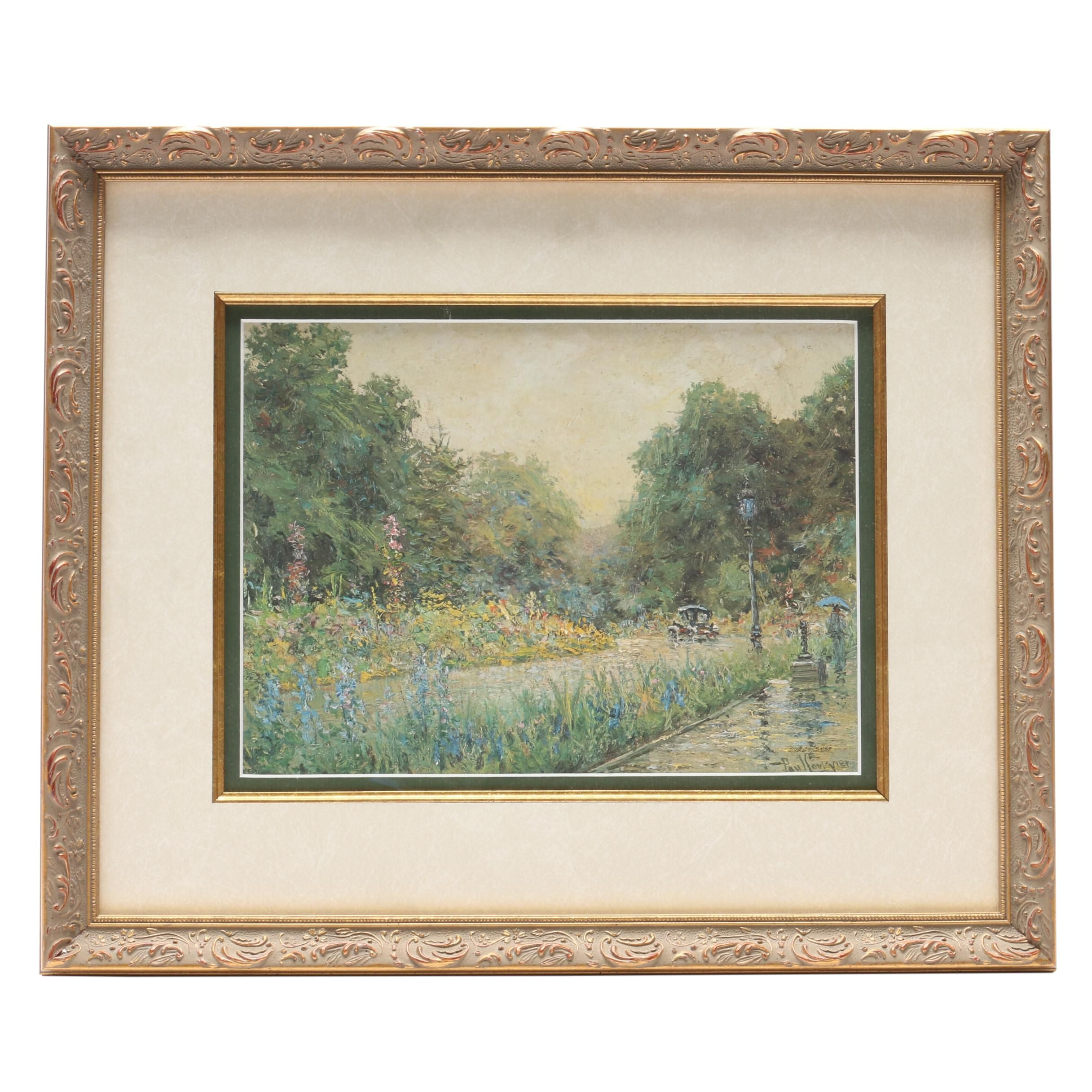 """Limited Edition Offset Lithograph after Paul Sawyier """"Rainy Day in the Park"""""""