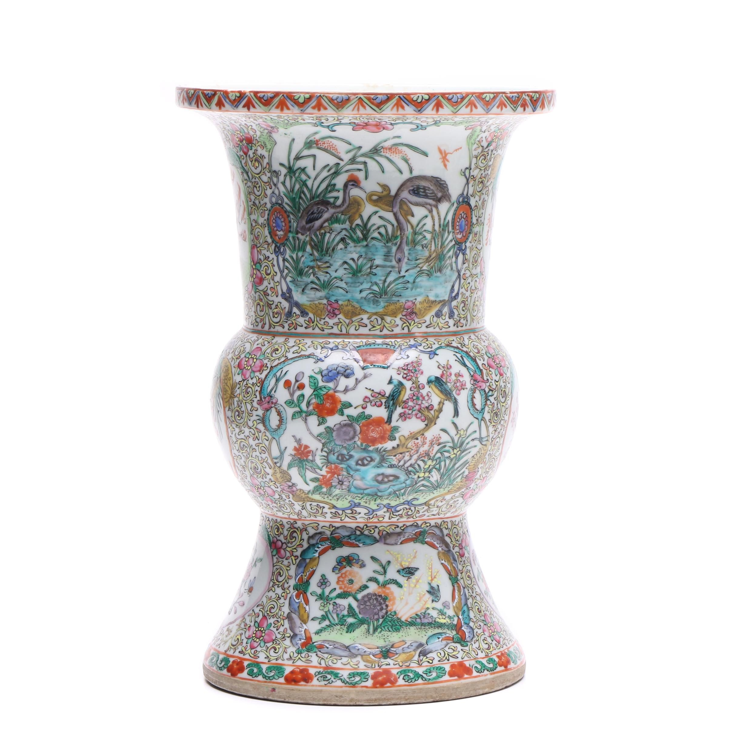 Chinese Hand Painted Porcelain Gu Vase Decorated with Flowers and Birds