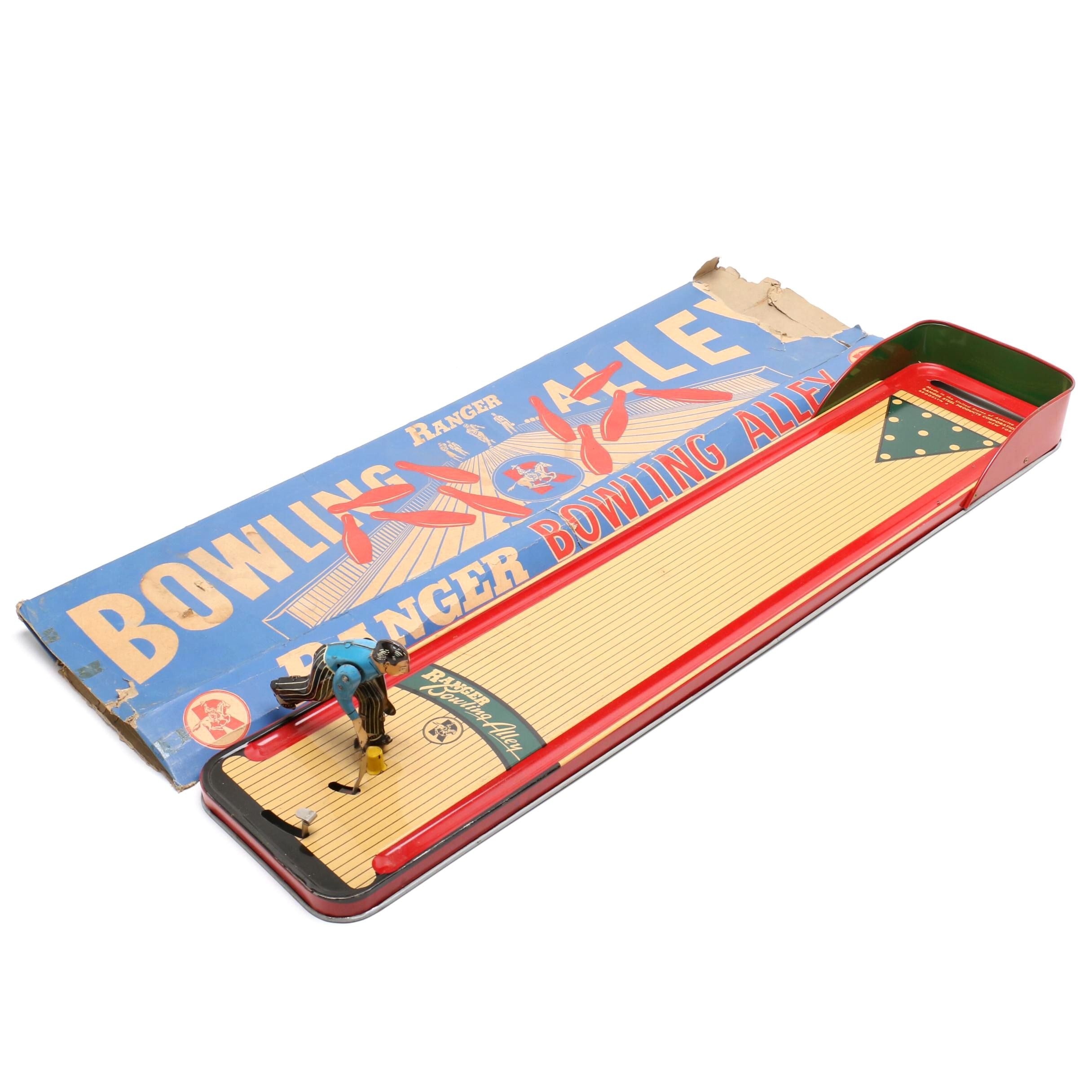 Vintage Ranger Tin Bowling Alley Table Top Game and Original Box