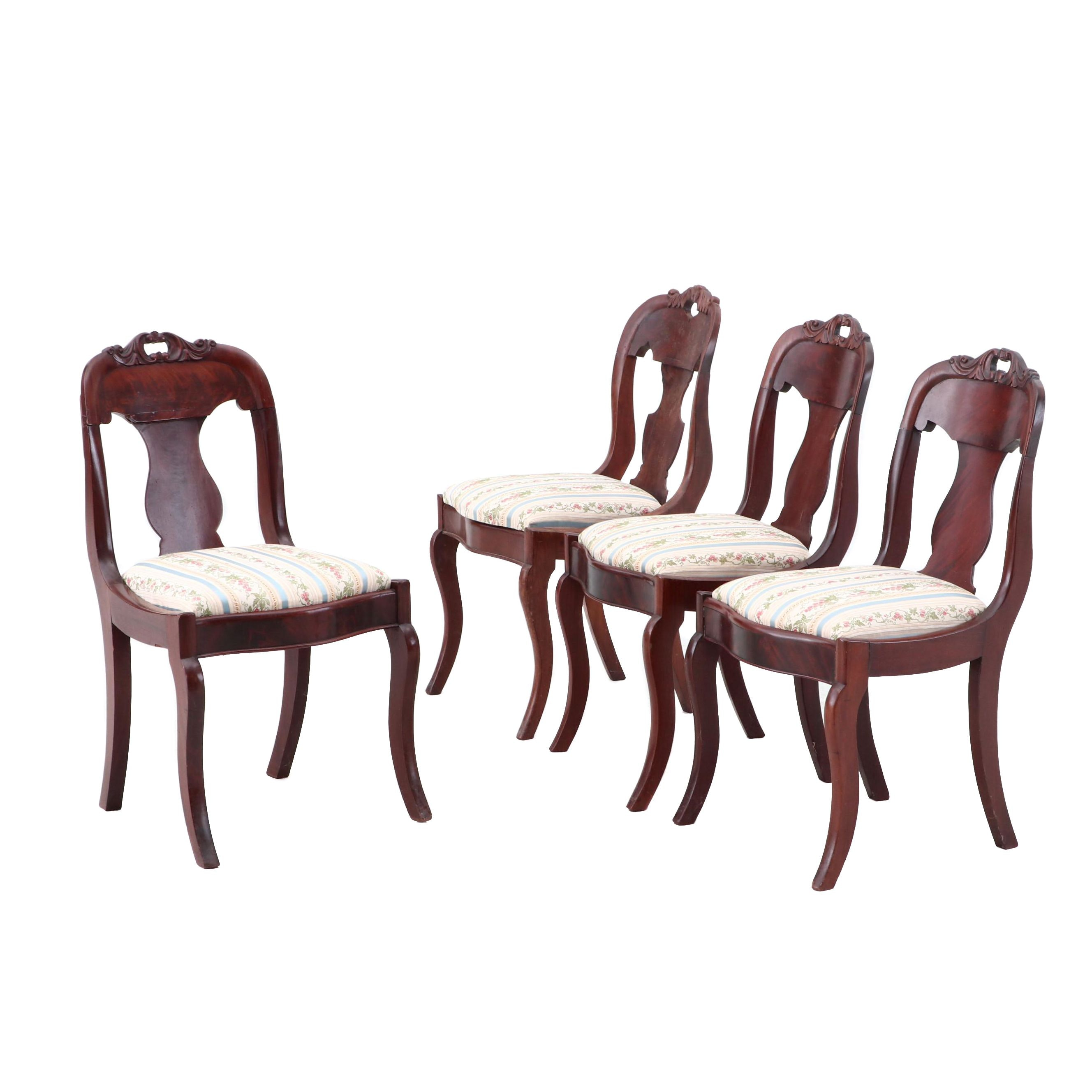 Four Mahogany Empire Side Chairs, circa 1840