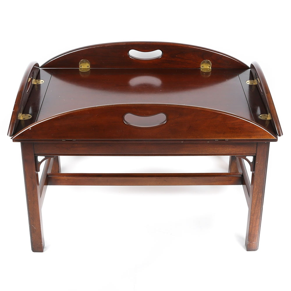 Chippendale Style Cherry Finished Wooden Butler's Tray Coffee Table, 21st Cent.