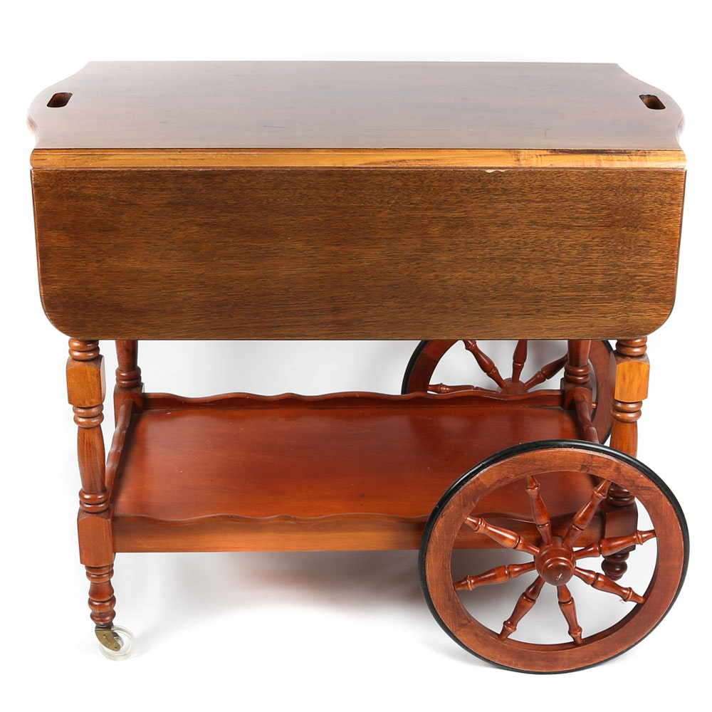 Mixed Woods Drop Leaf Rolling Tea Cart, 20th Century