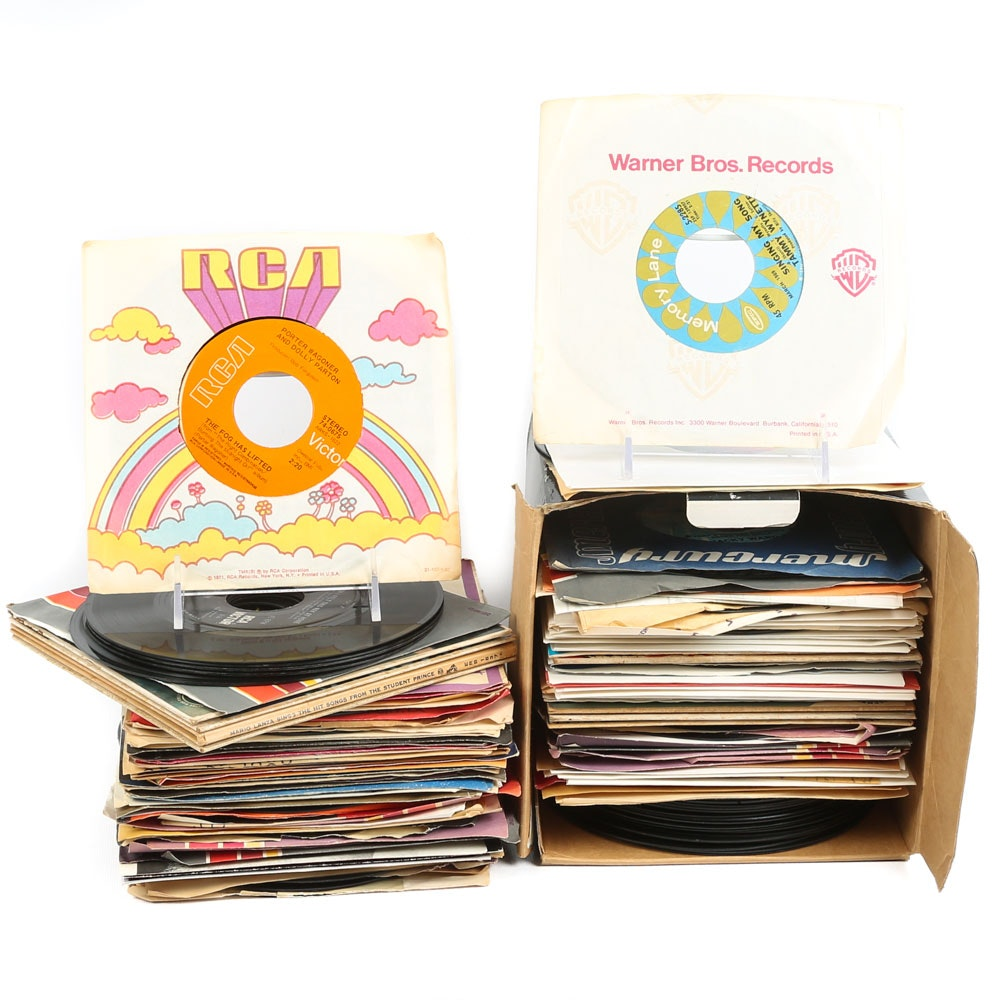 Loretta Lynn, Dolly Parton, Jackie Gleason and Other 45 RPM Vinyl Records