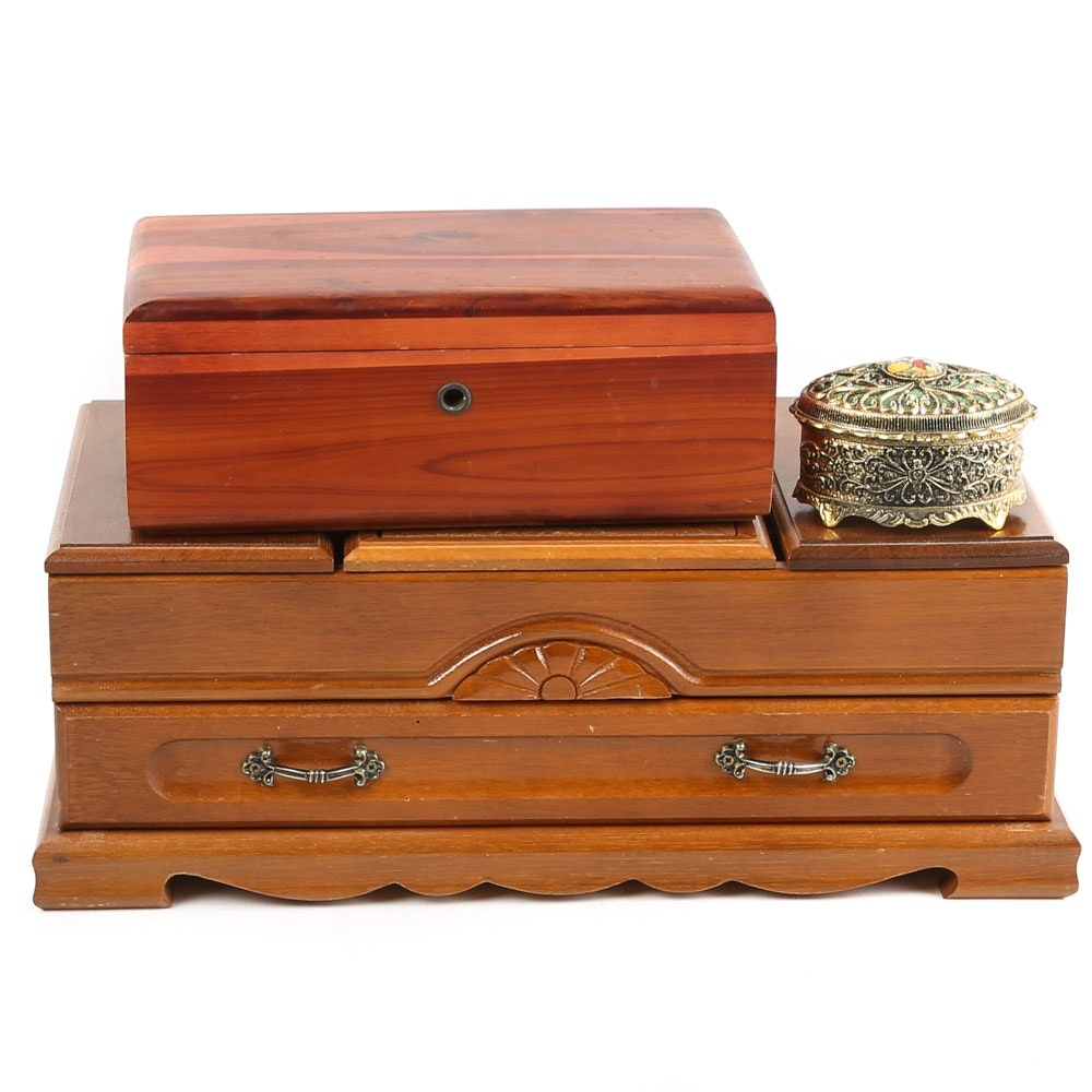 Cedar and Maple Jewelry Boxes and Musical Metal Trinket Box