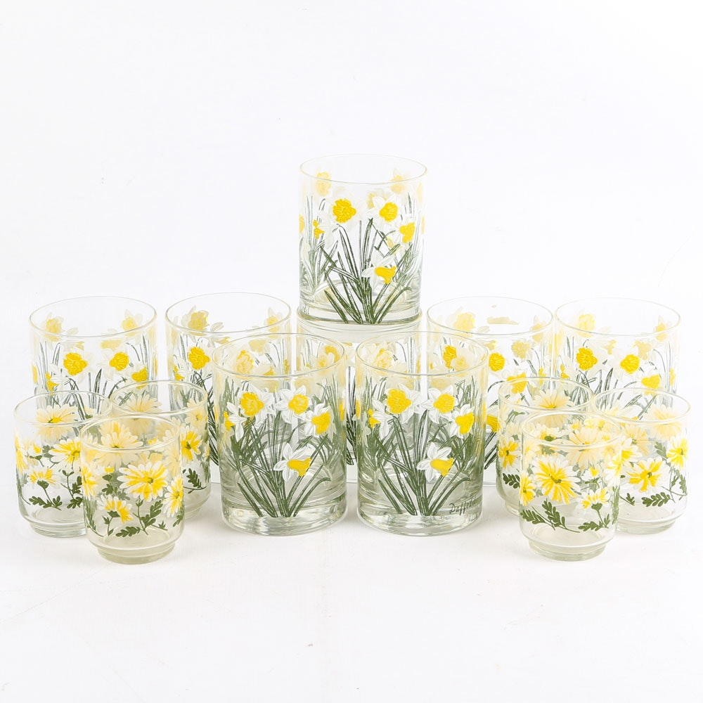 "Cera ""Daffodil"" Tumbers and Floral Juice Glasses, Vintage"
