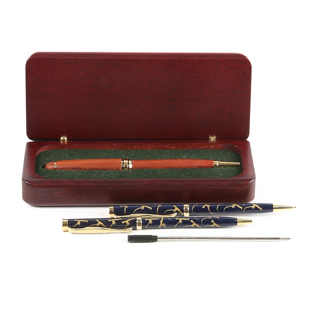 Ballpoint Pens and Wooden Pen Case