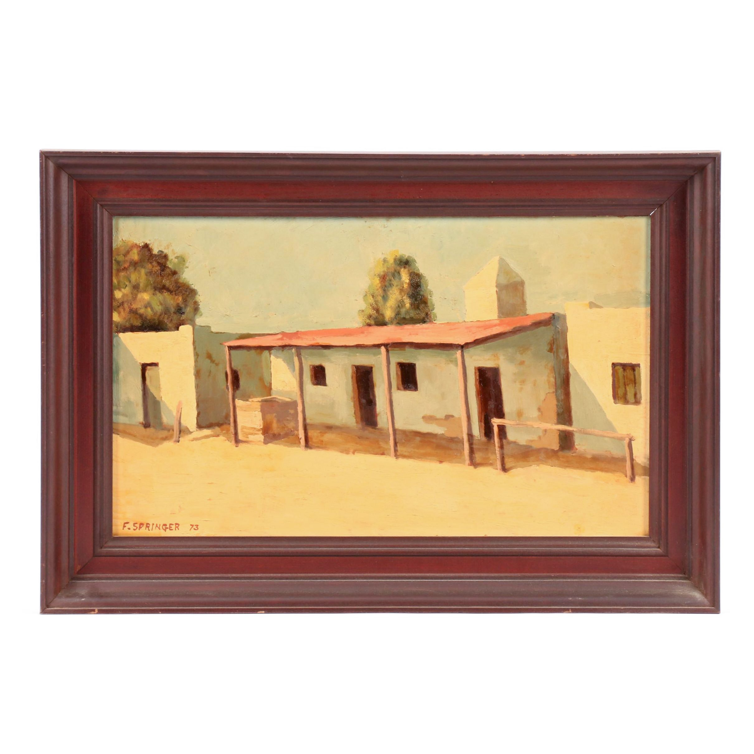F. Springer Oil Painting of an Adobe Style House