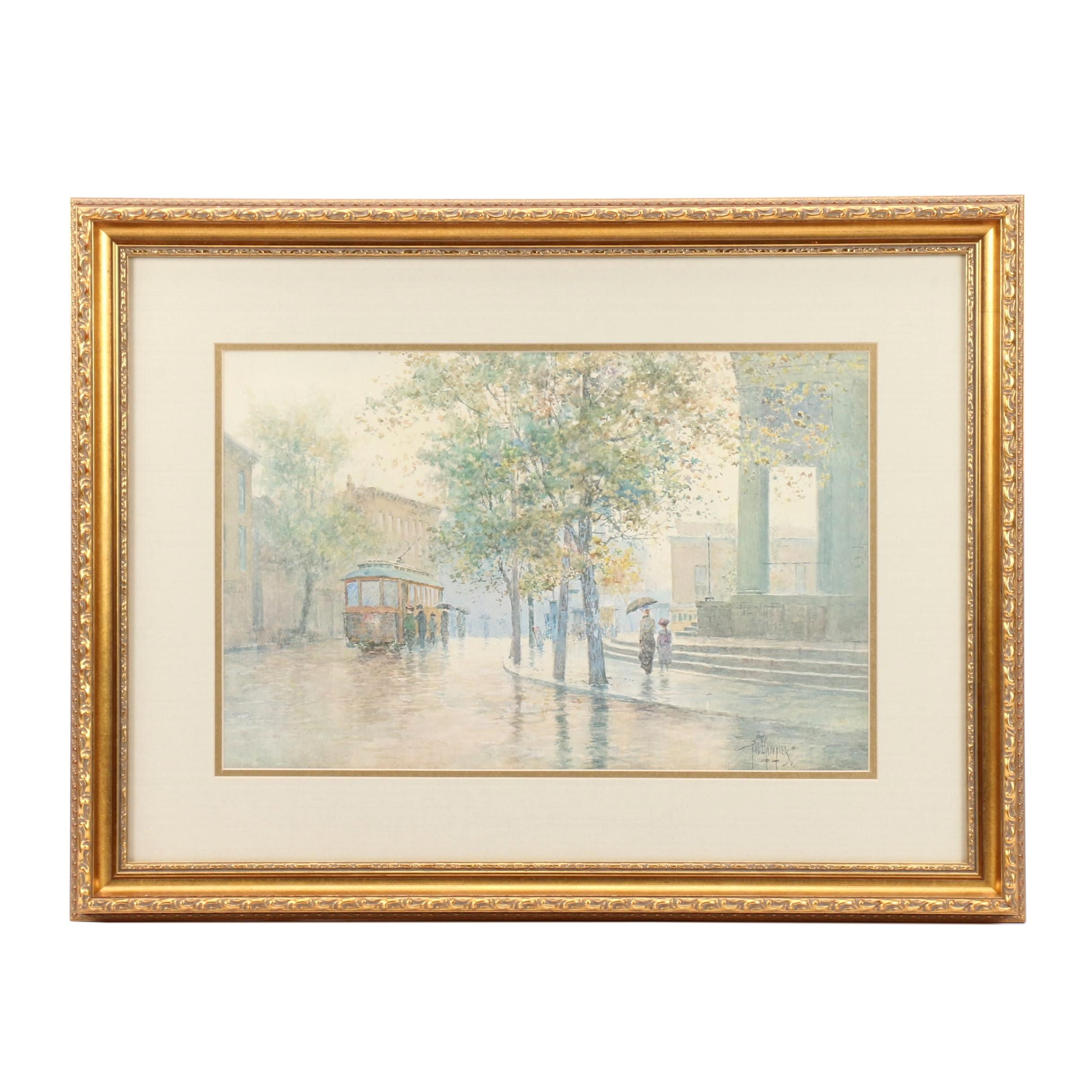 "Limited Edition Offset Lithograph after Paul Sawyier ""Main Street Trolley"""