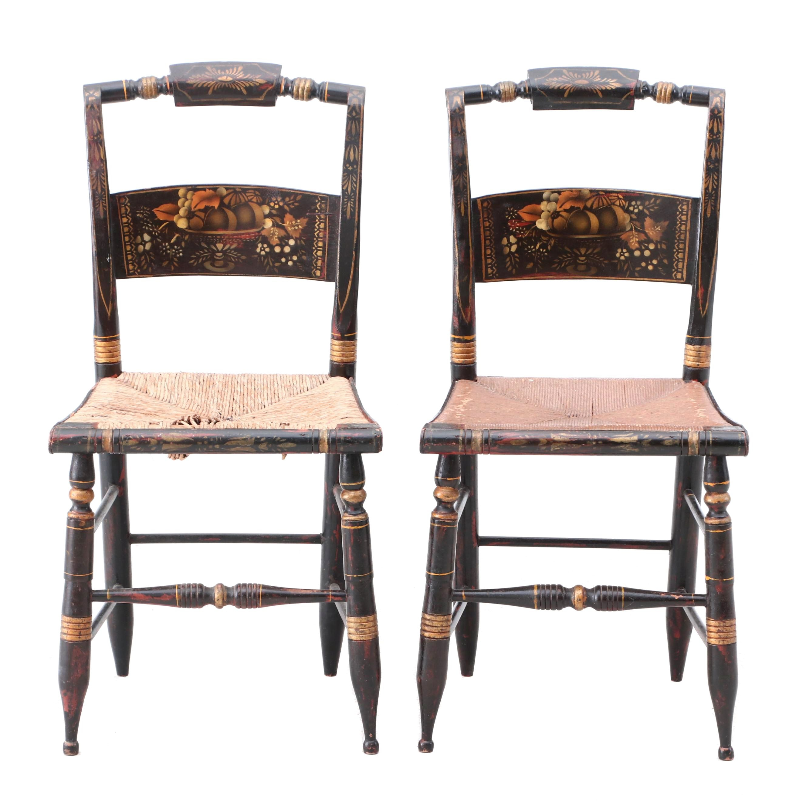 Antique Hitchcock Style Pillow Back Chairs