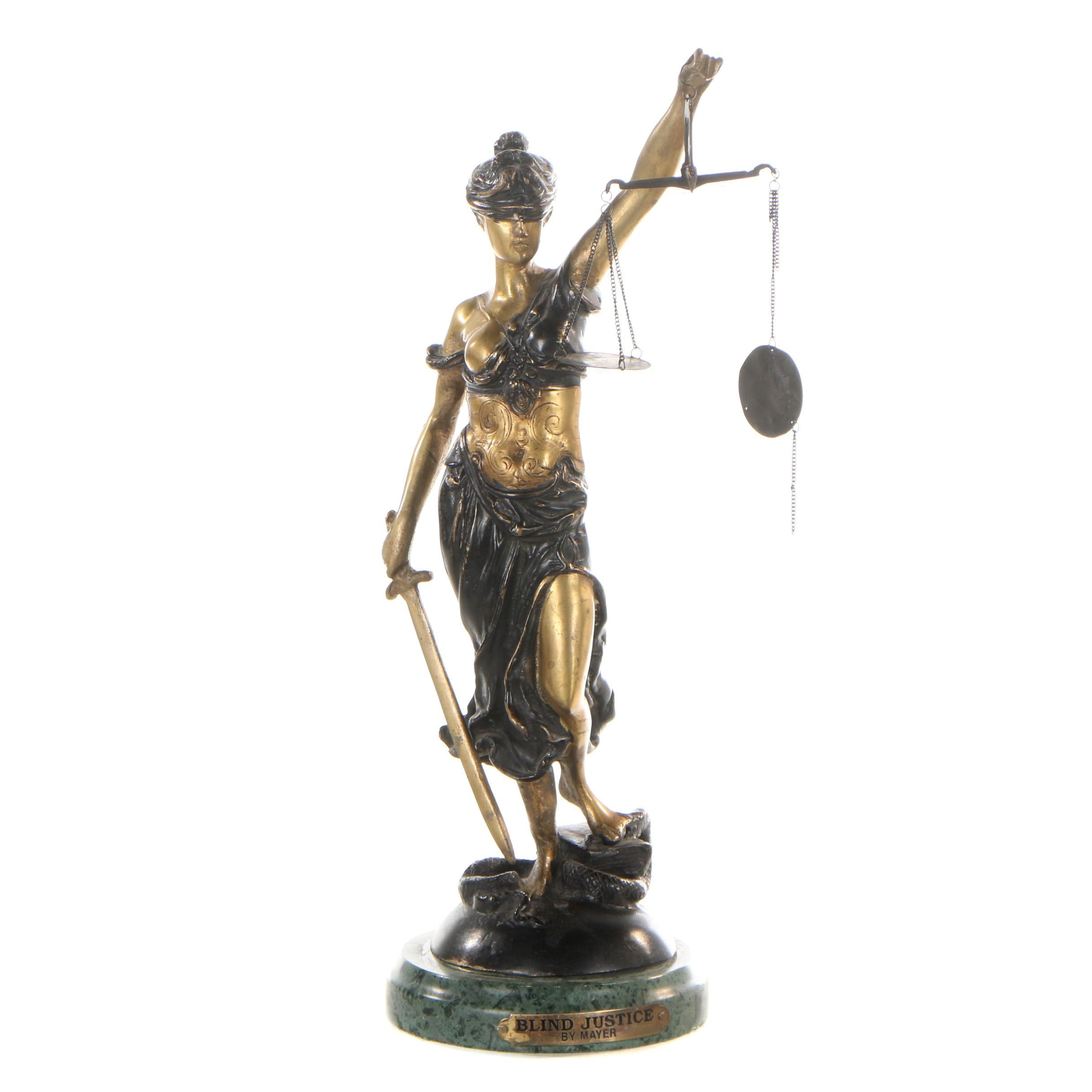 "Reproduction Sculpture after Alois Mayer ""Blind Justice"