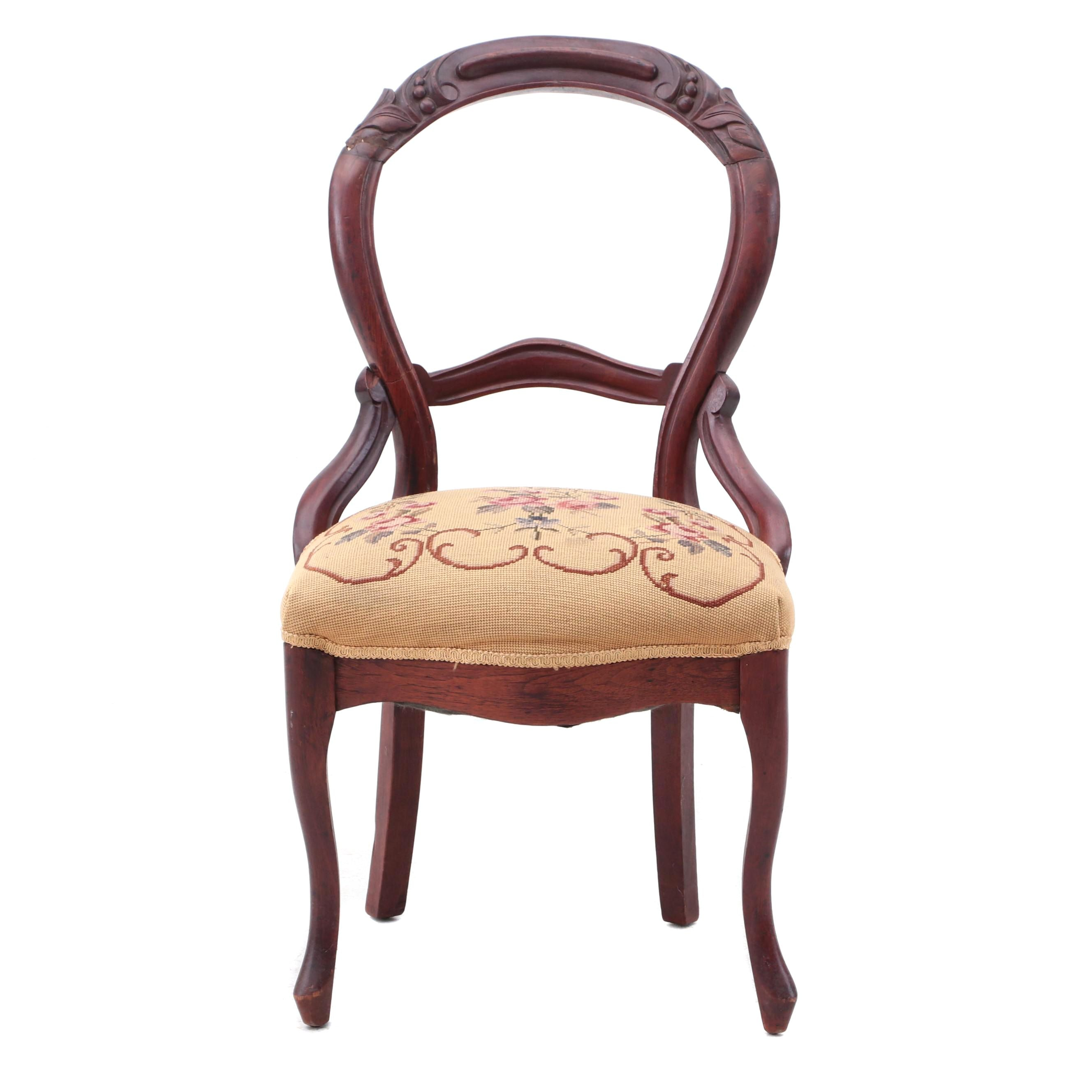 Victorian Side Chair with Needlepoint Upholstery
