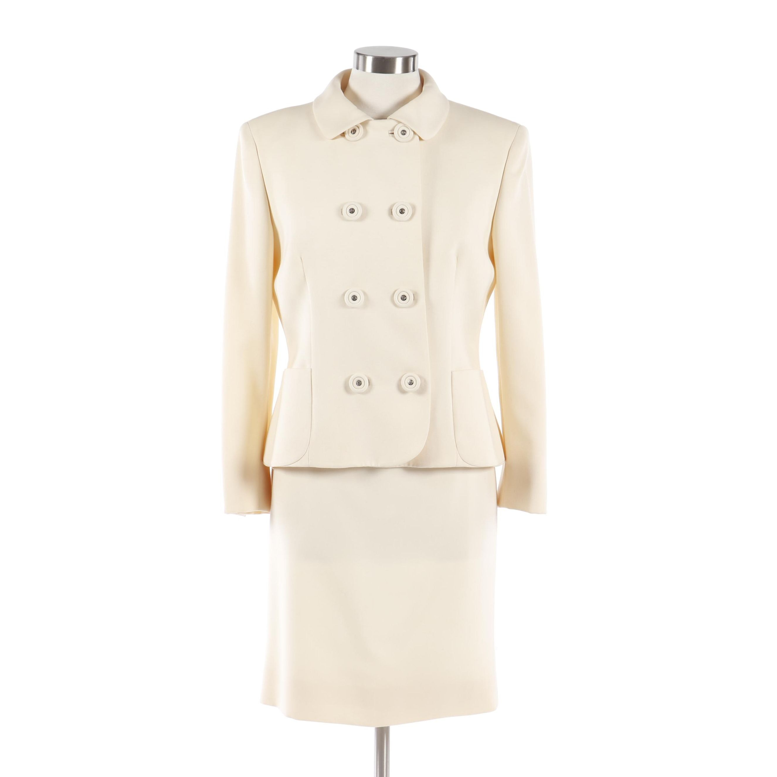Women's Gianni Versace Couture Double-Breasted Ivory Wool Skirt Suit, Vintage