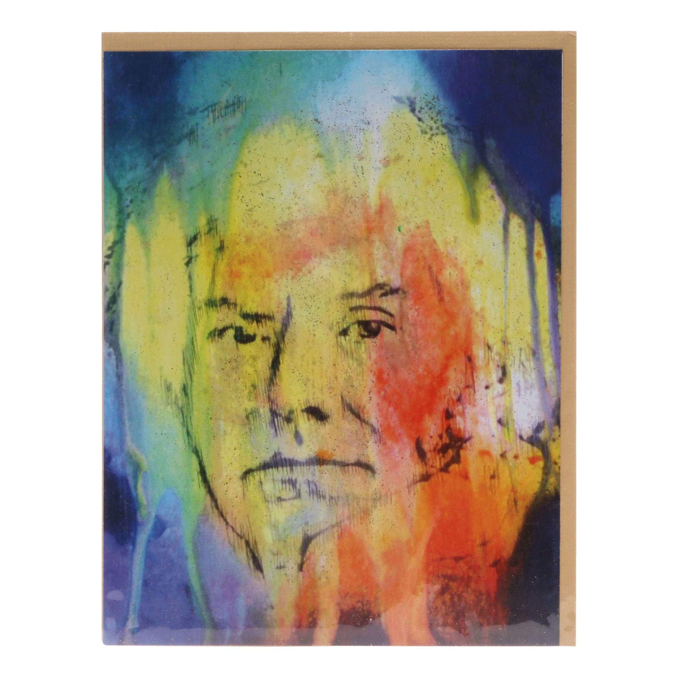 "Roldan West Embellished Offset Lithograph ""Andy Warhol"""