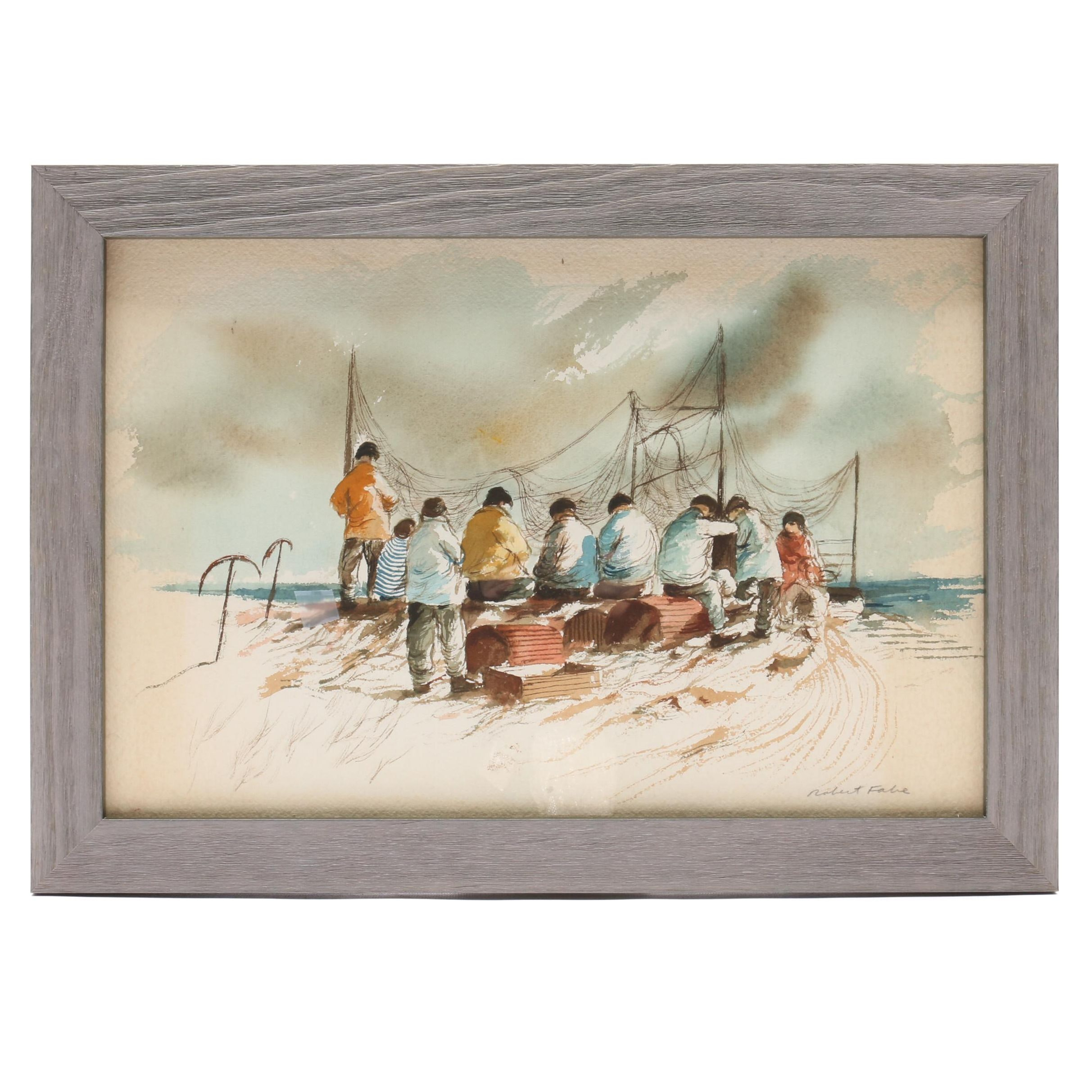 Robert Fabe Watercolor Painting of Fishermen on Shore