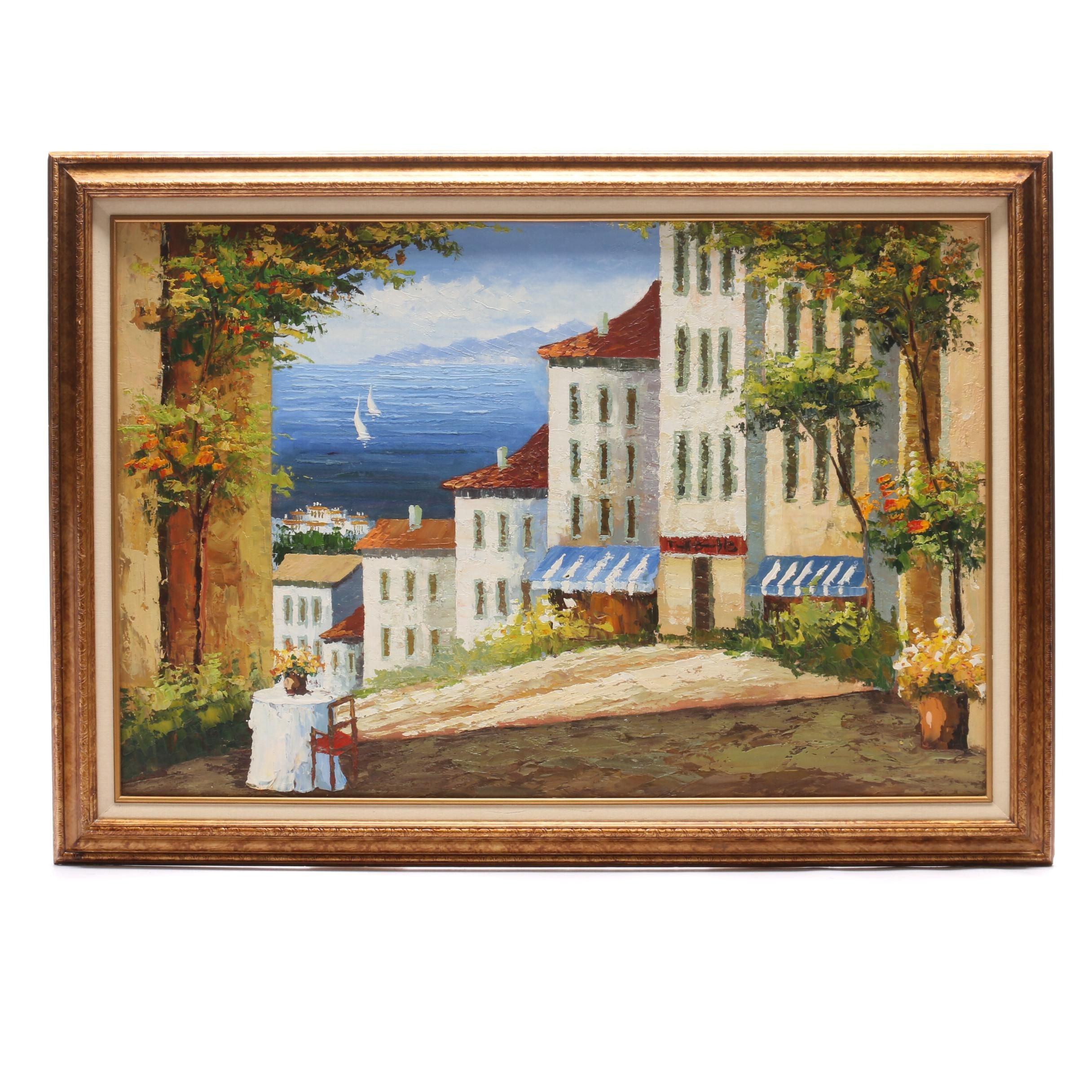 Acrylic Painting of Mediterranean Hillside Village